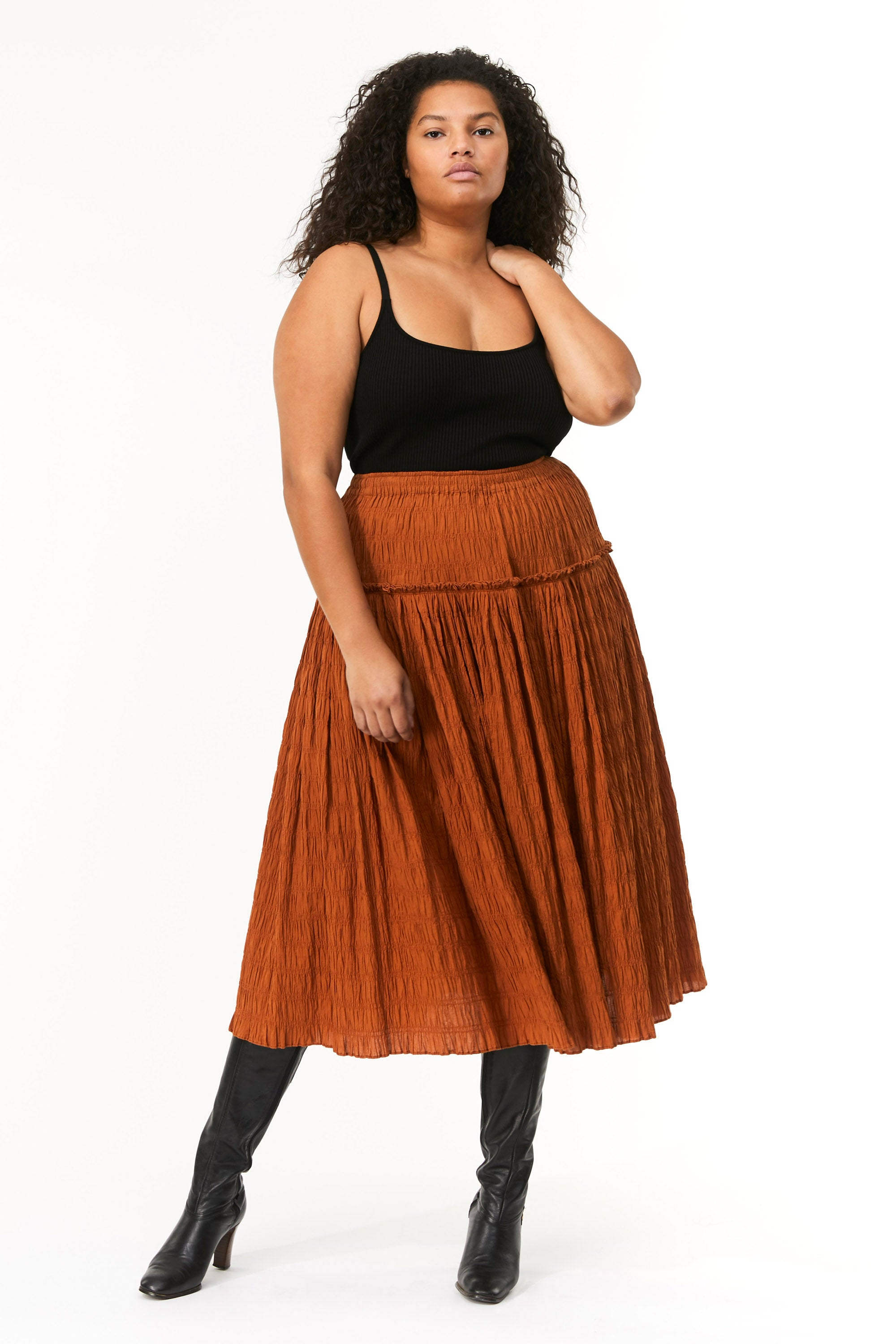 Extended Mara Hoffman Brown Alejandra Skirt in organic cotton (movement)