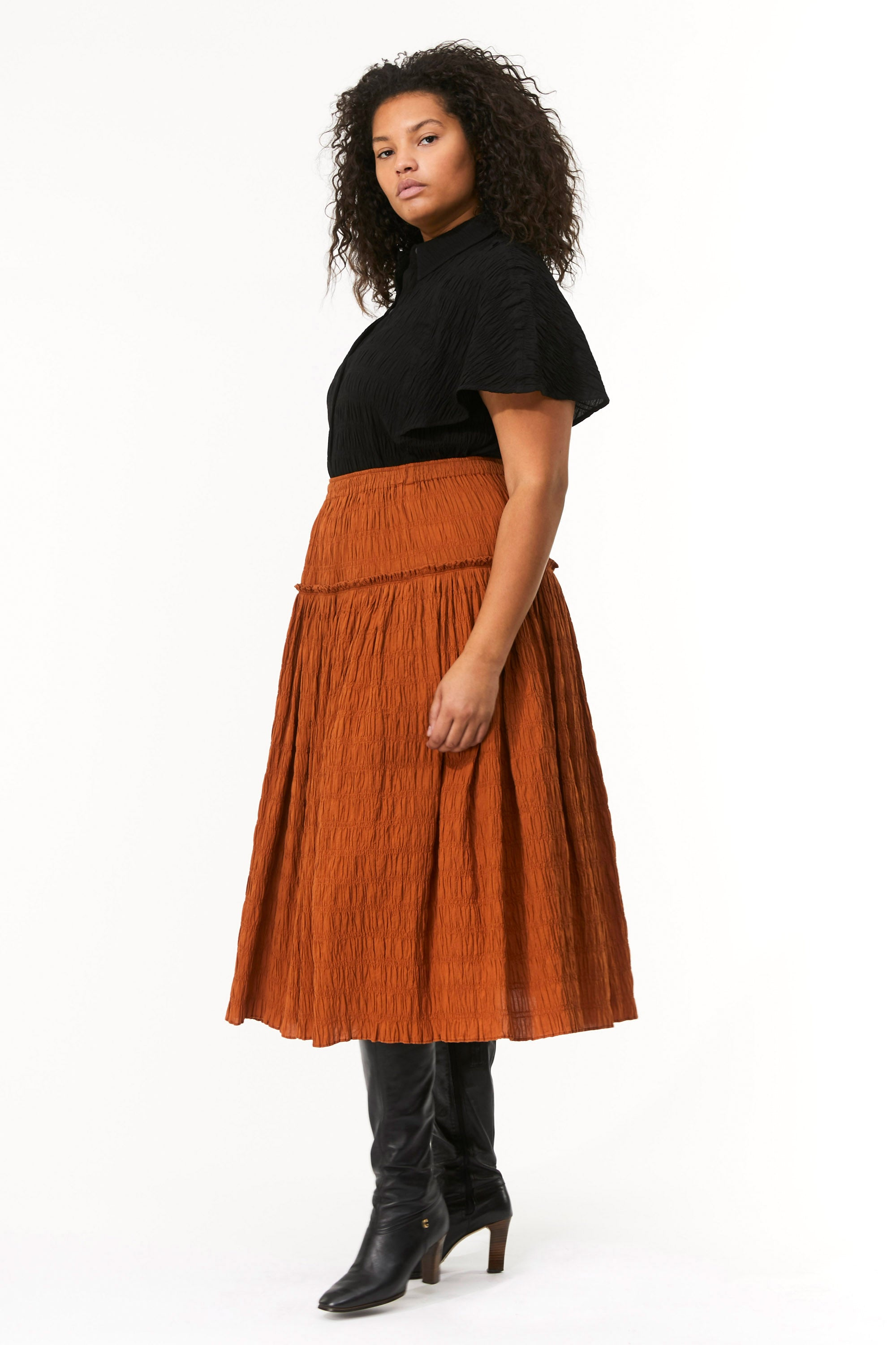 Extended Mara Hoffman Brown Alejandra Skirt in organic cotton (side detail)