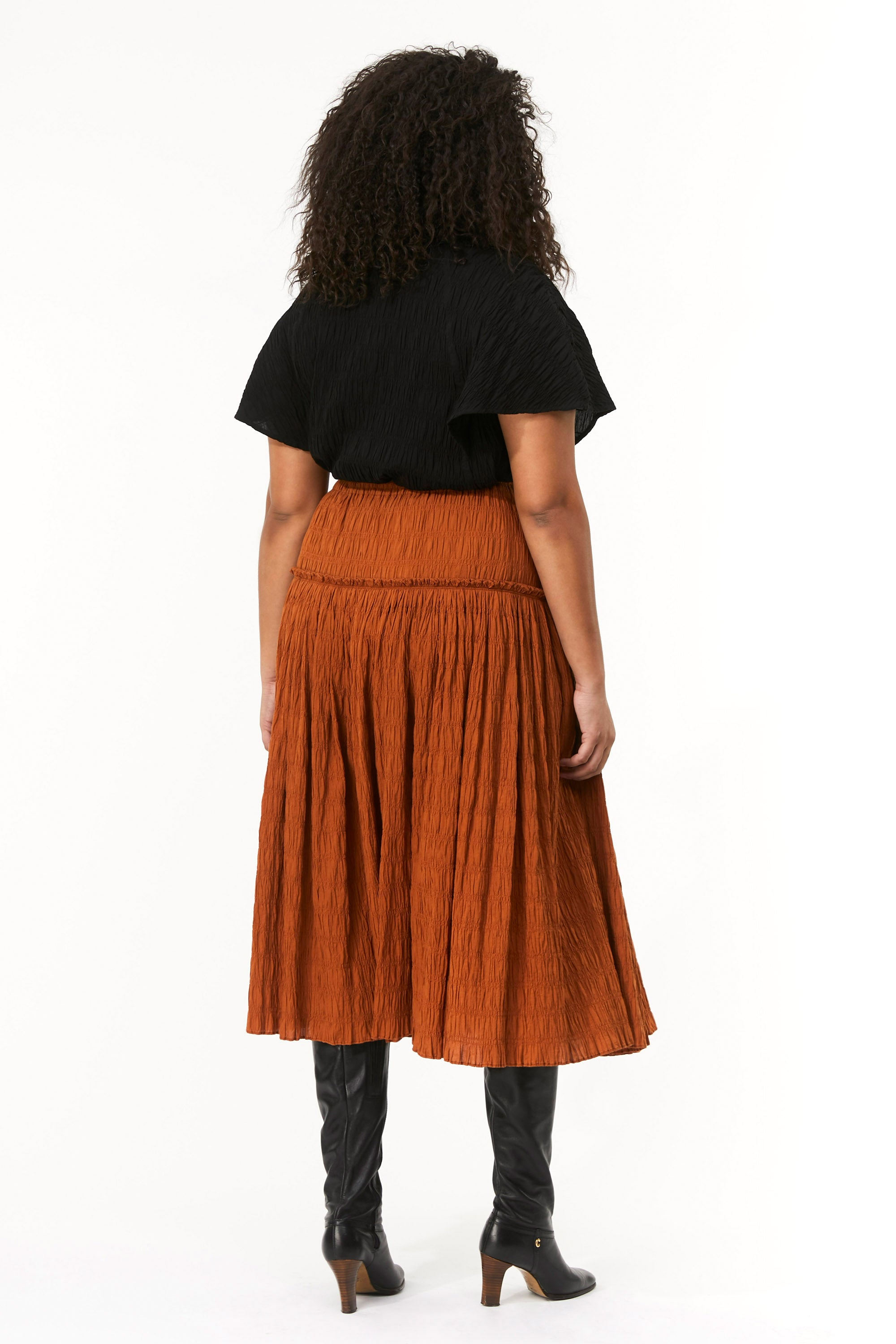 Extended Mara Hoffman Brown Alejandra Skirt in organic cotton (back)