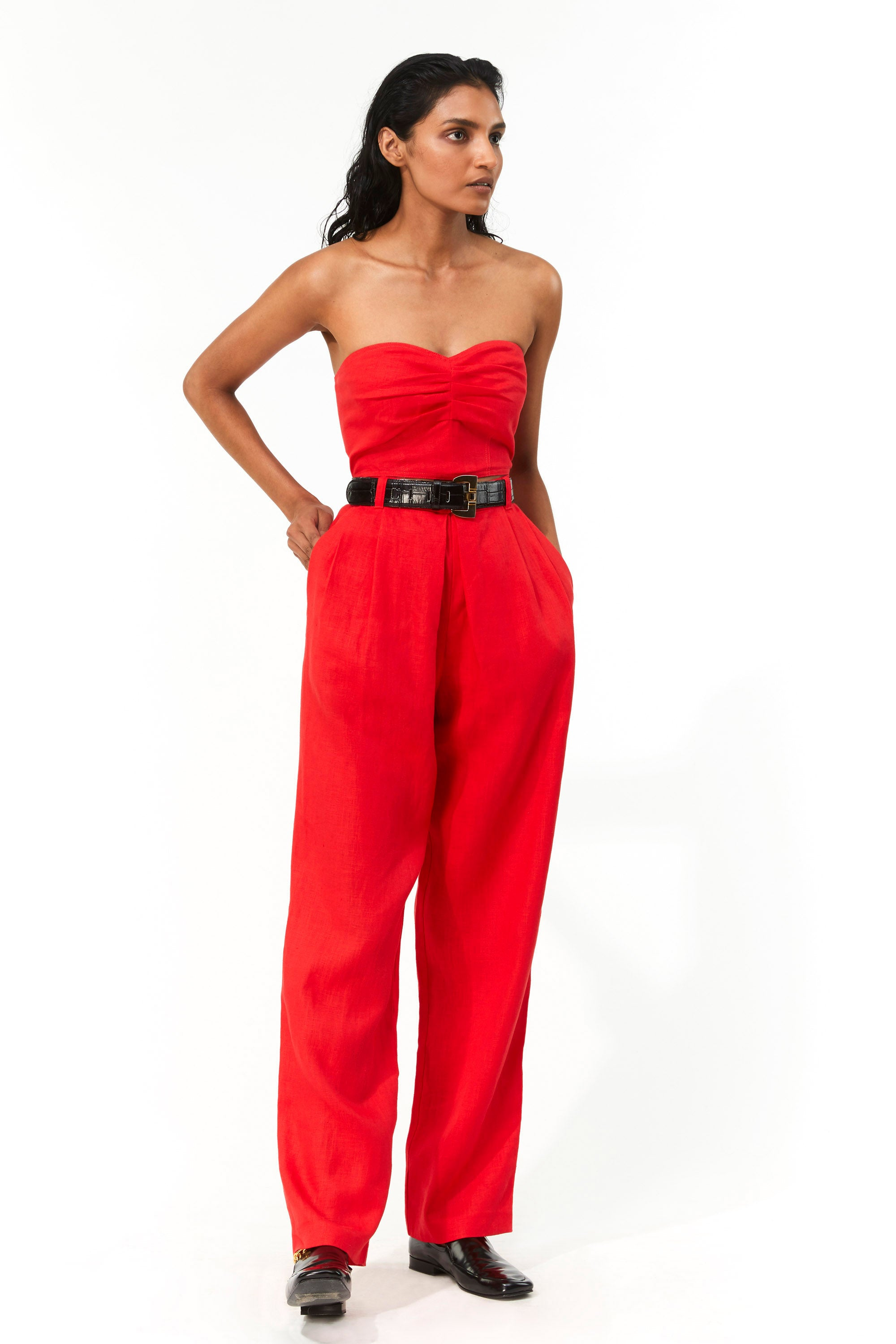 Mara Hoffman Red Eldora Pant in hemp (front)