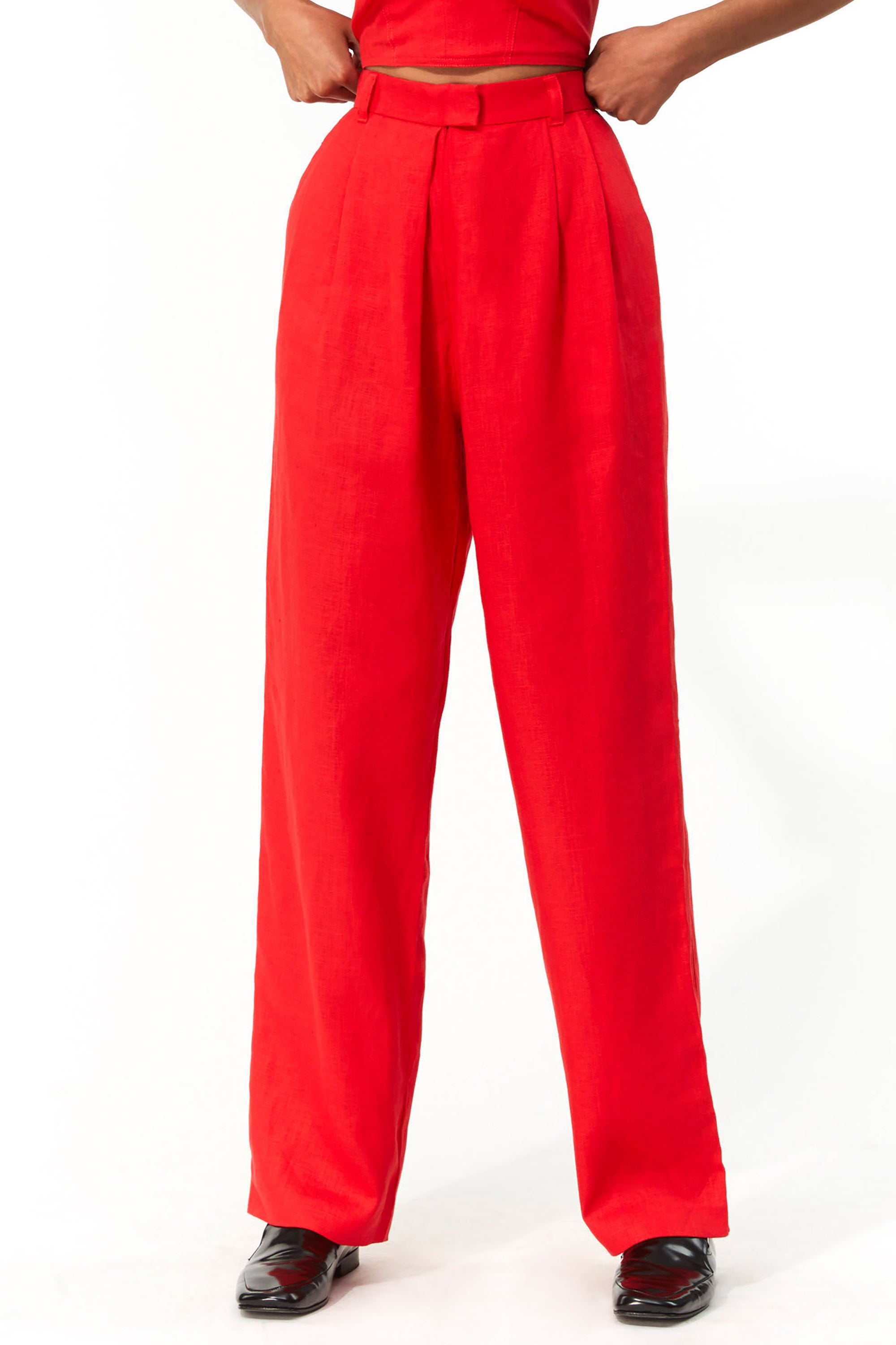 Mara Hoffman Red Eldora Pant in hemp (front detail)