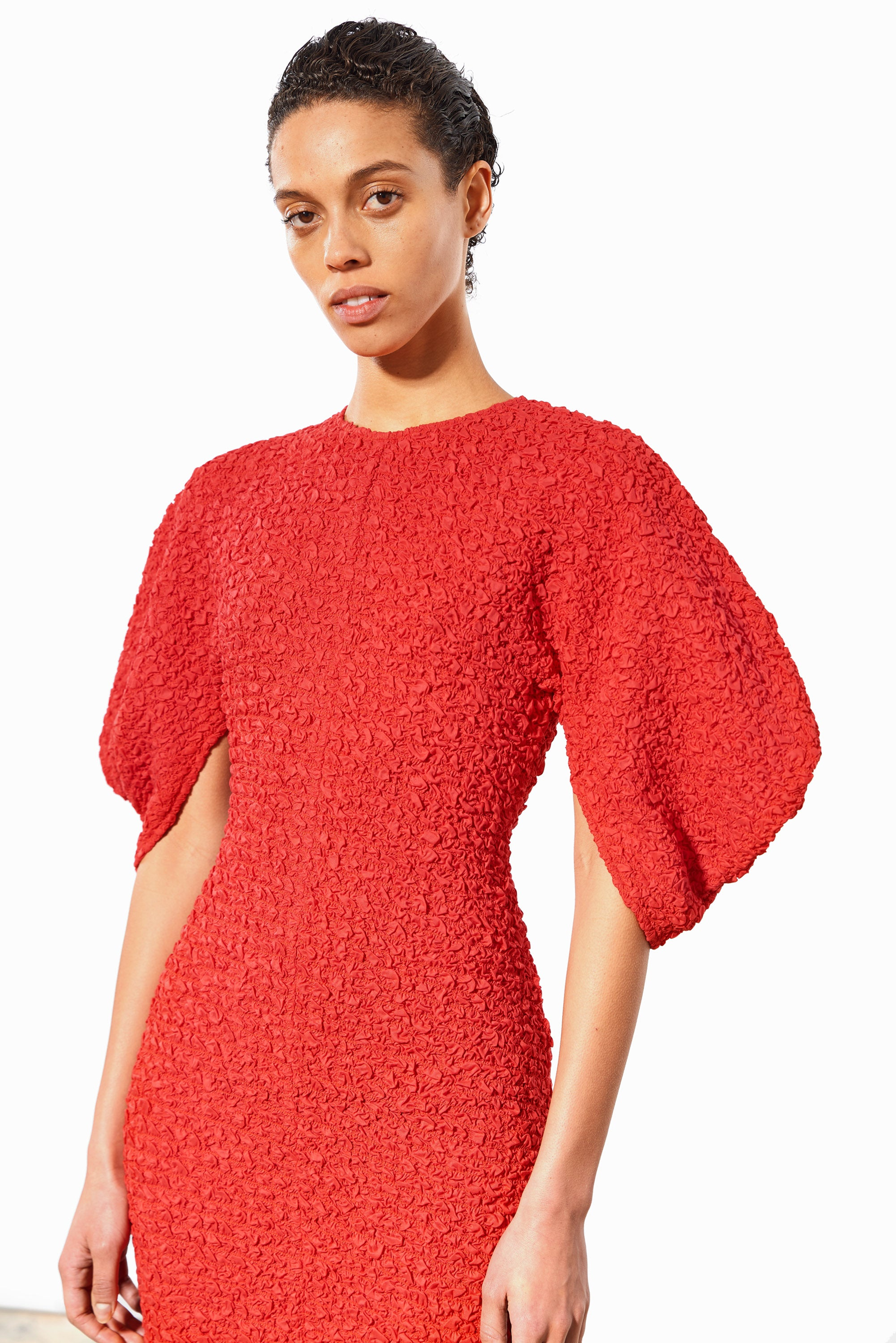 Mara Hoffman Red Freya Dress in elastic lenzing modal (front detail)