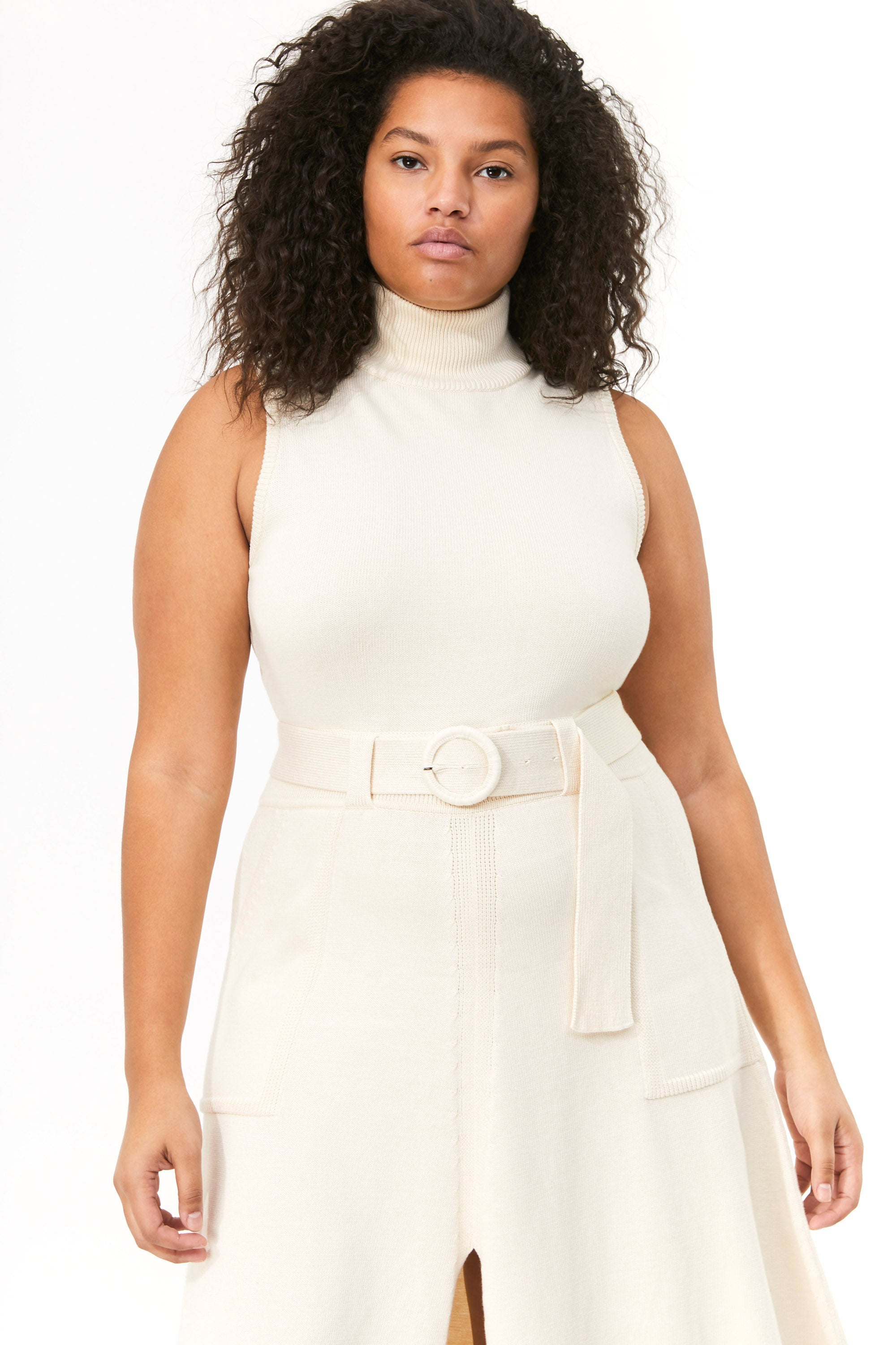 Mara Hoffman Extended Ivory Elle Dress in organic cotton (neck detail)