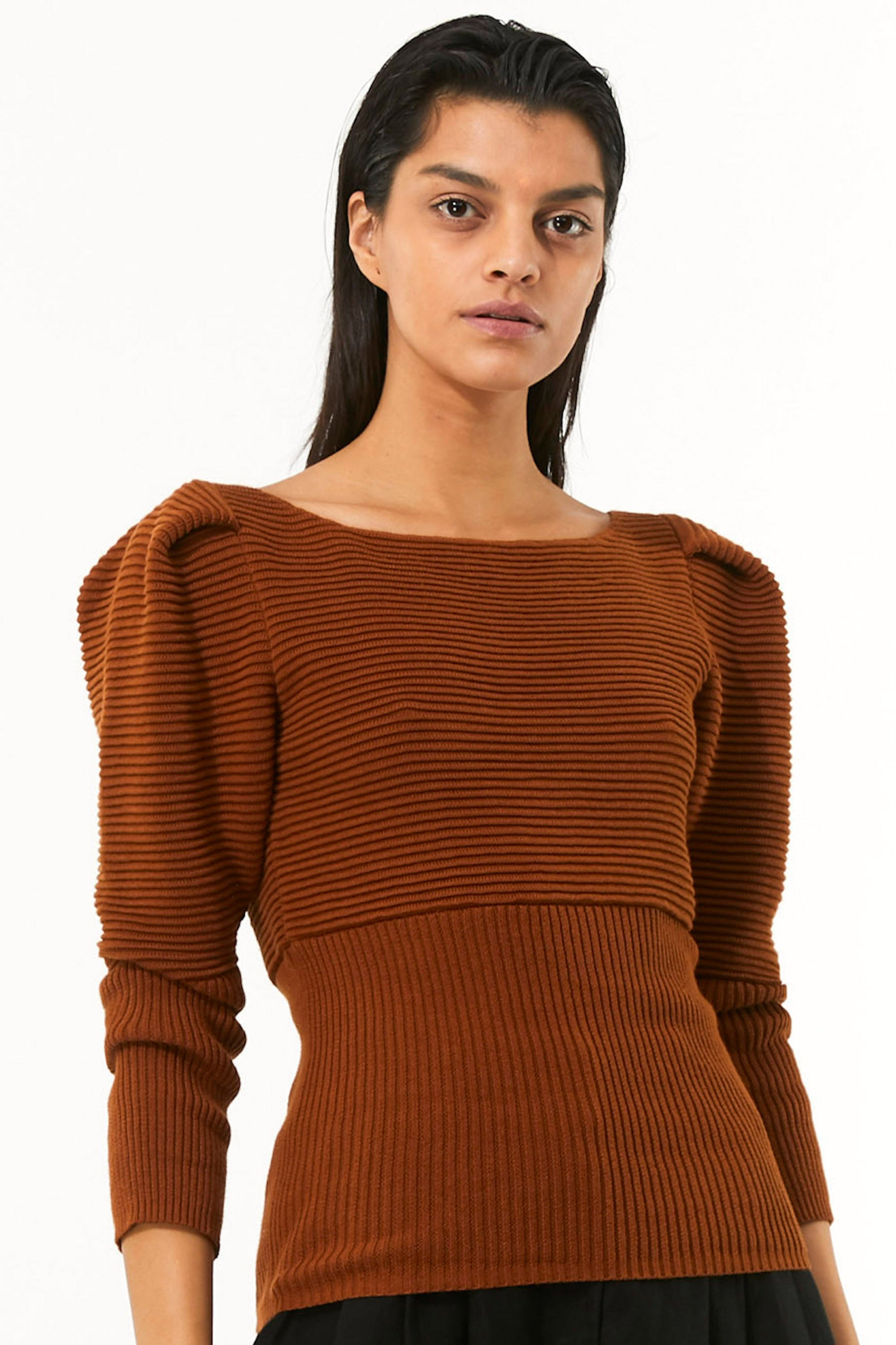 Mara Hoffman Rust Helena Sweater in organic cotton (front detail)
