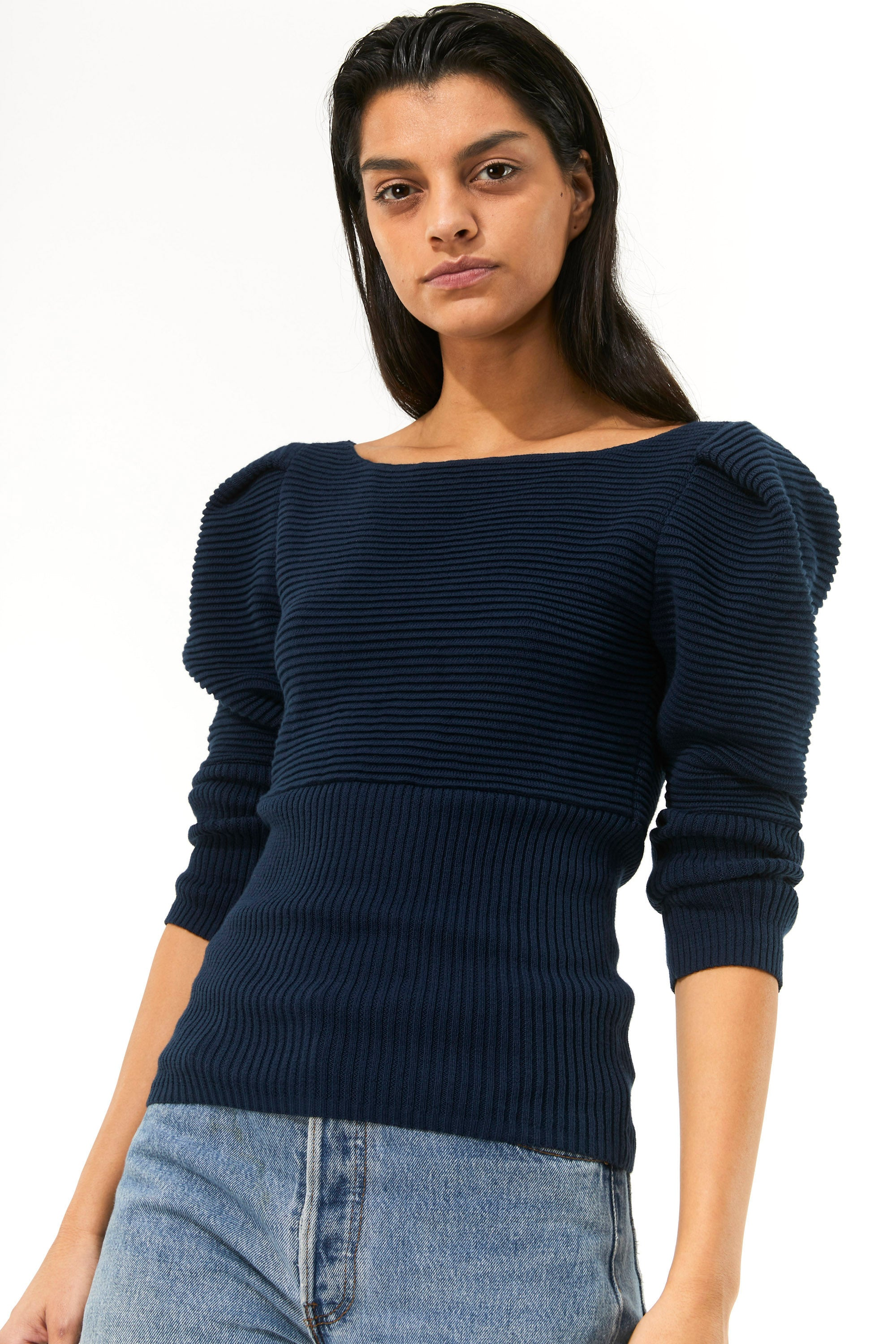 Mara Hoffman Indigo Helena Sweater in organic cotton (front detail)