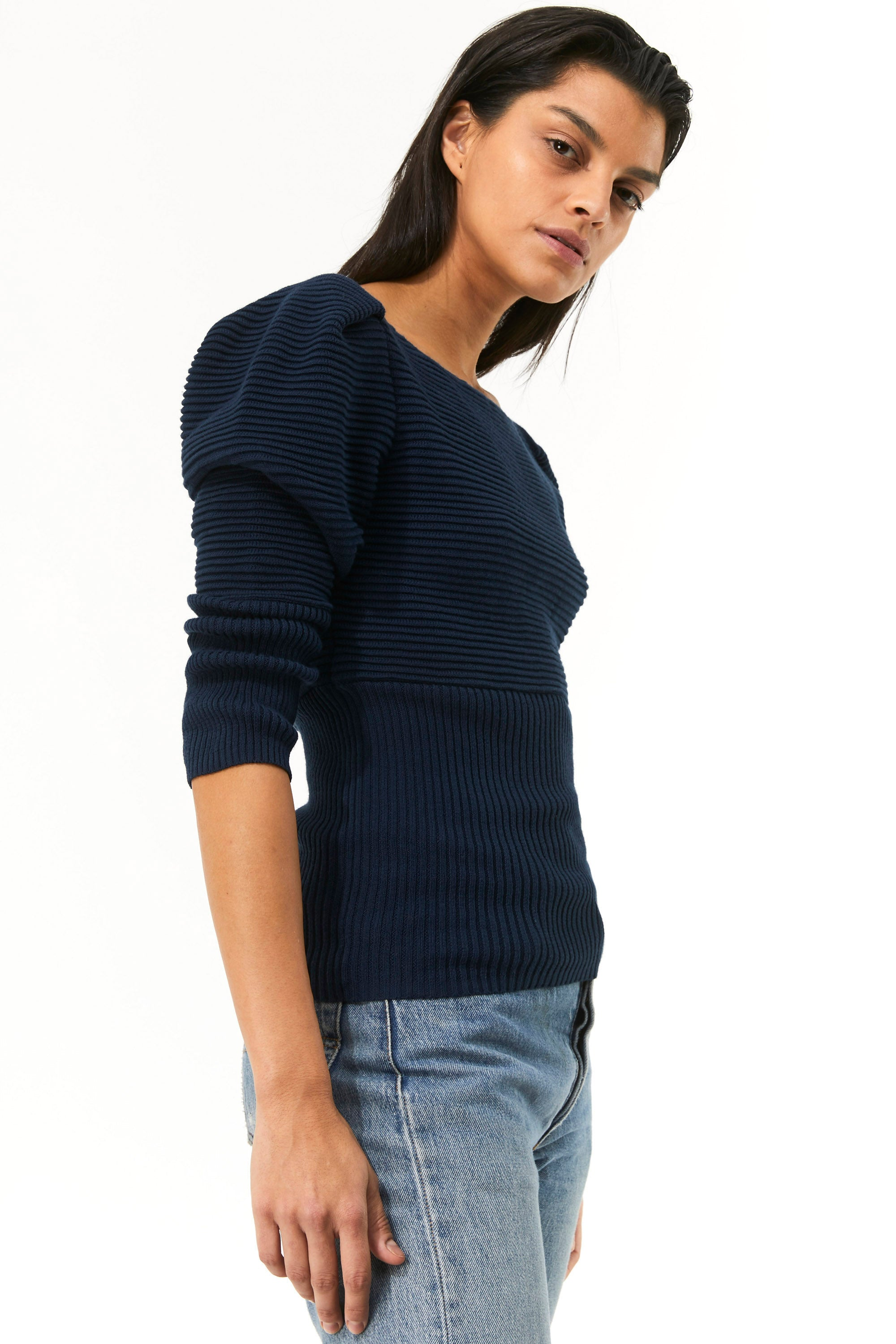 Mara Hoffman Indigo Helena Sweater in organic cotton (side)