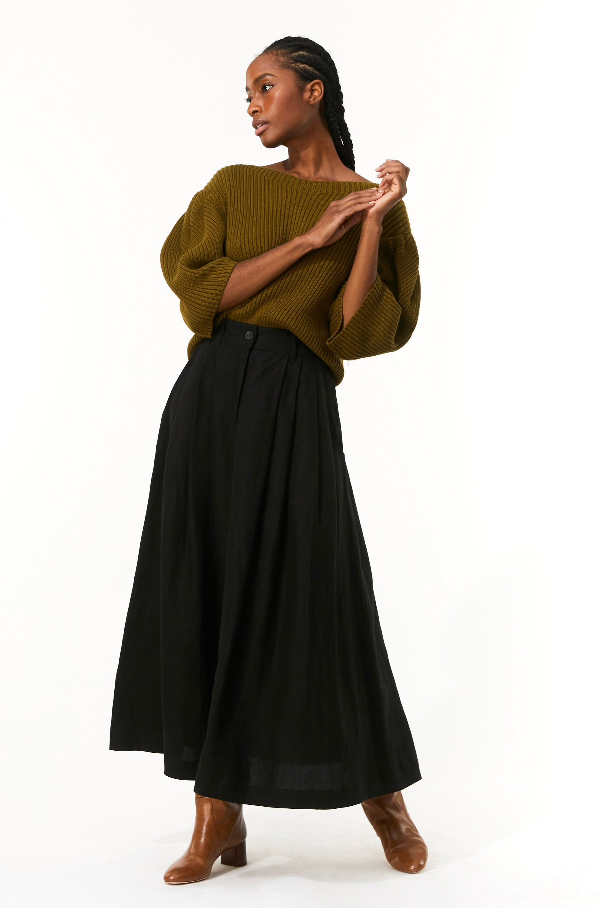 Mara Hoffman Olive Inga Sweater in organic cotton (front)