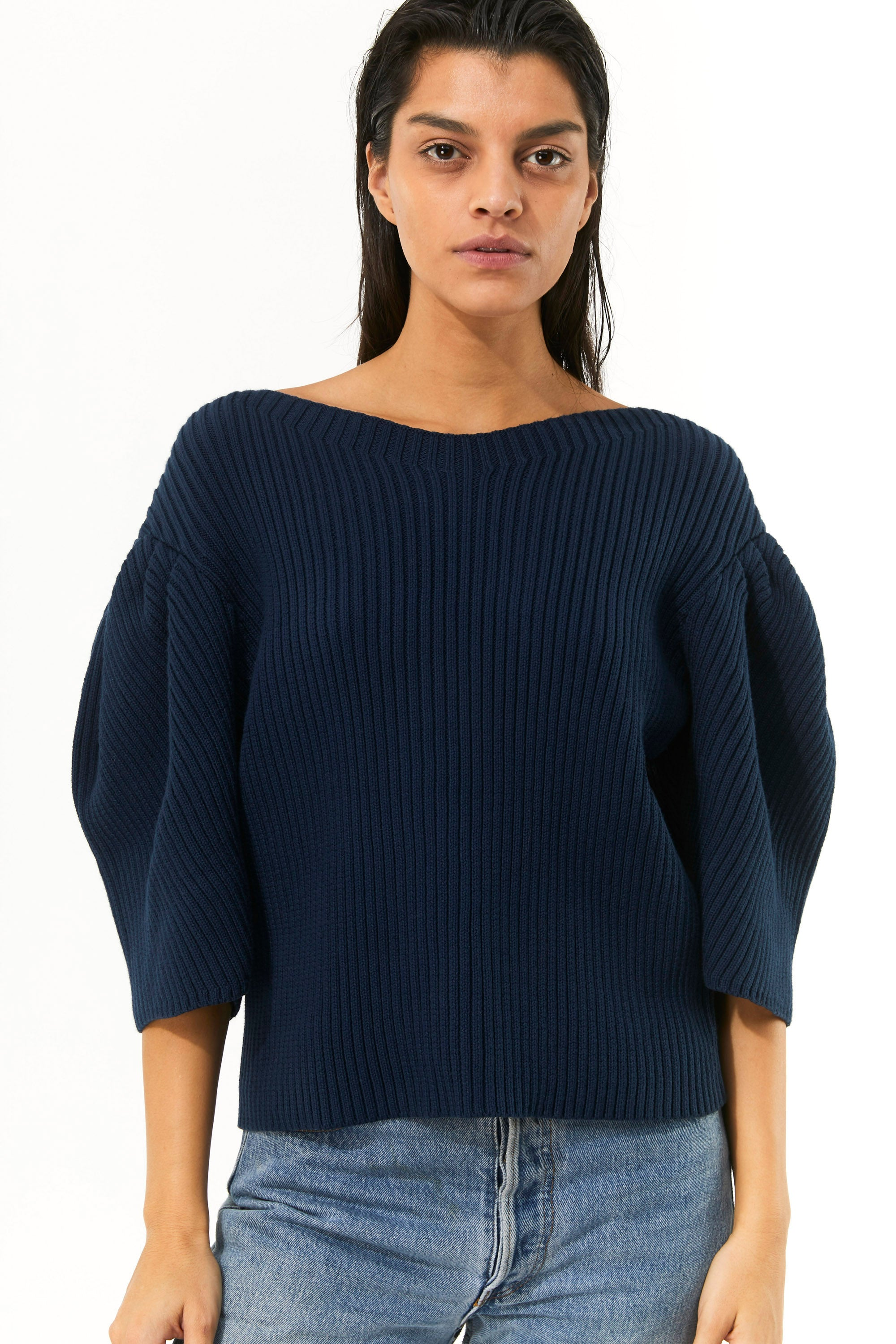 Mara Hoffman Indigo Inga Sweater in organic cotton (front detail)