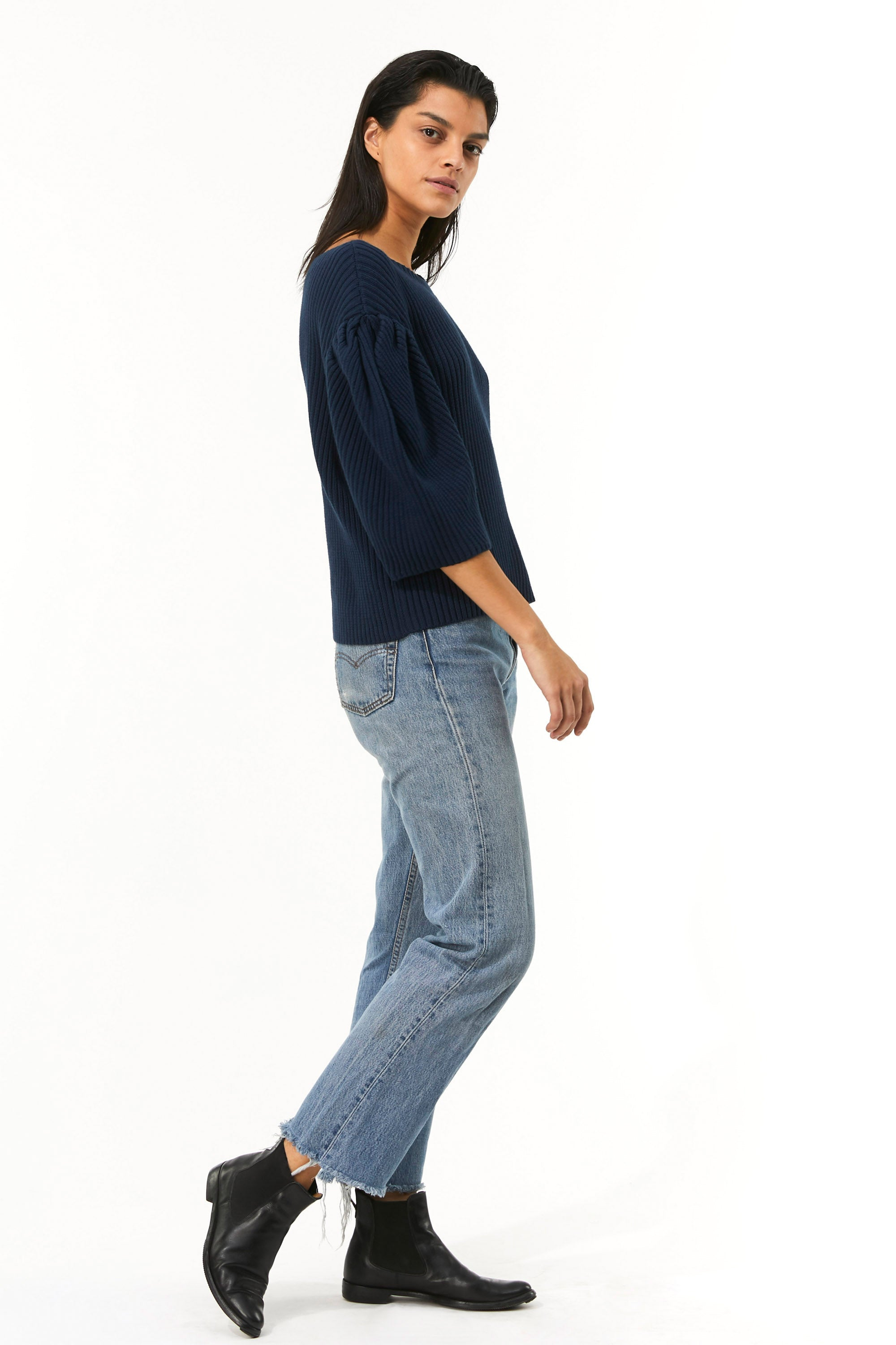 Mara Hoffman Indigo Inga Sweater in organic cotton (side)
