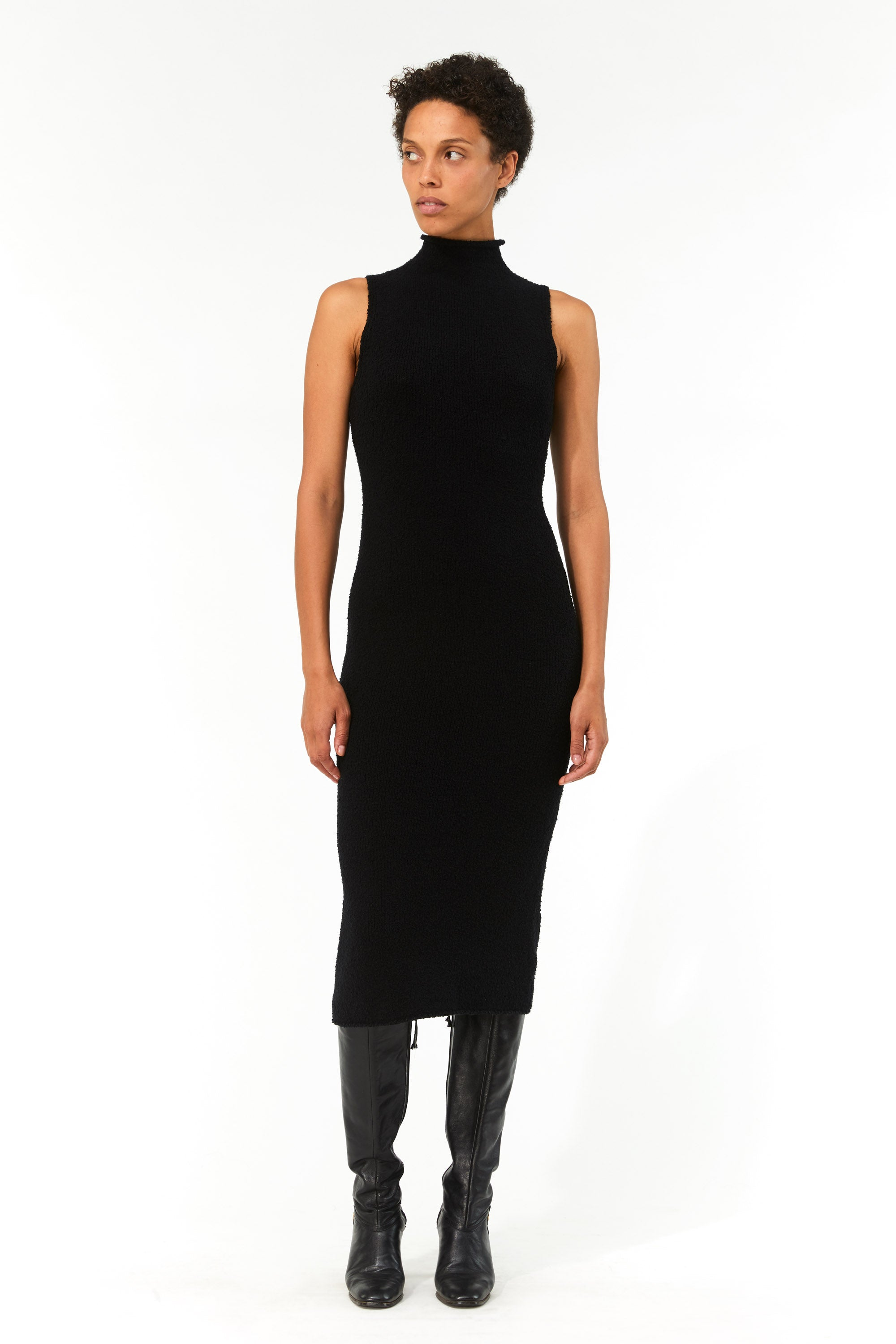 Mara Hoffman Black Rory Sweater Dress in organic cotton (front)