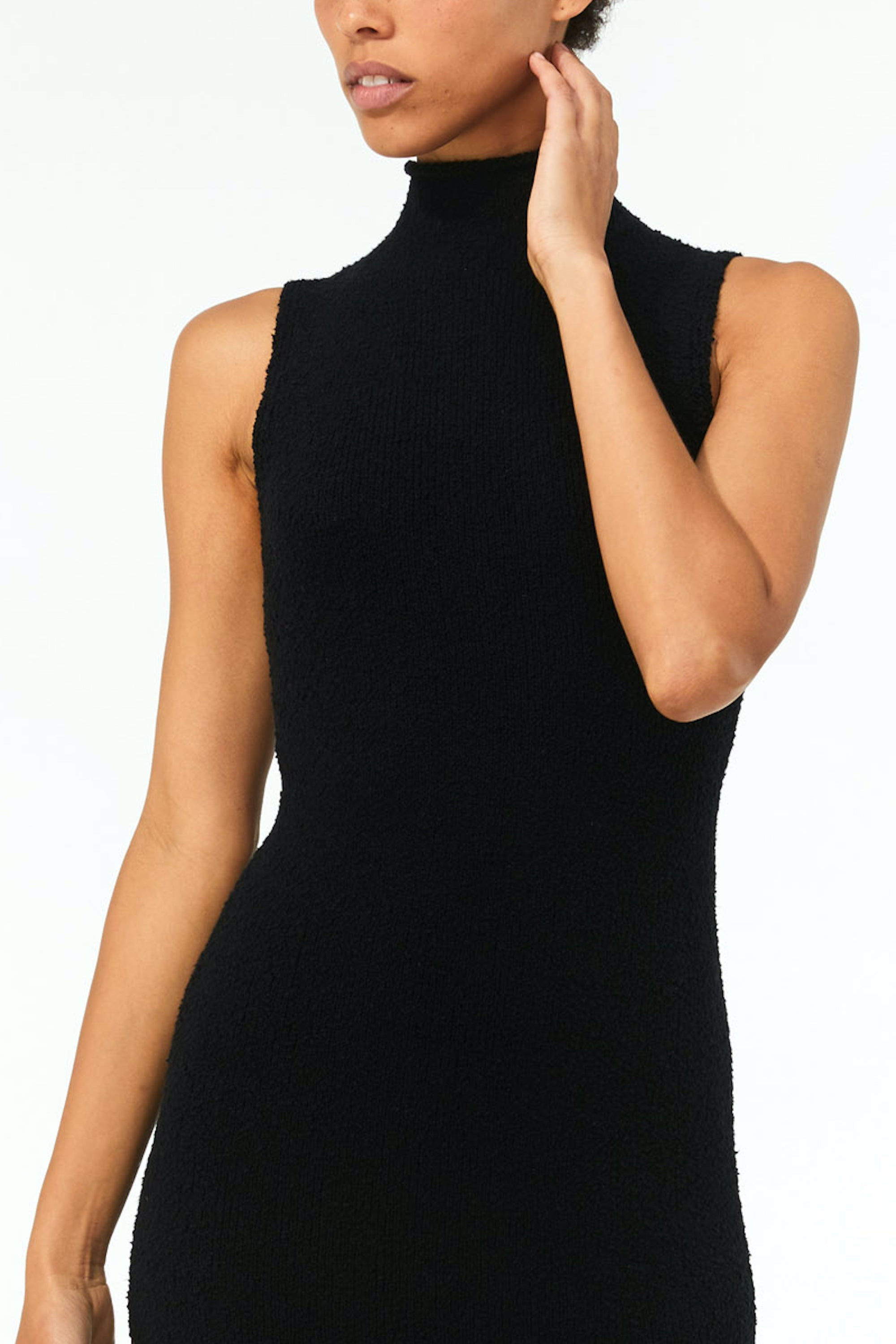 Mara Hoffman Black Rory Sweater Dress in organic cotton (front neck detail)
