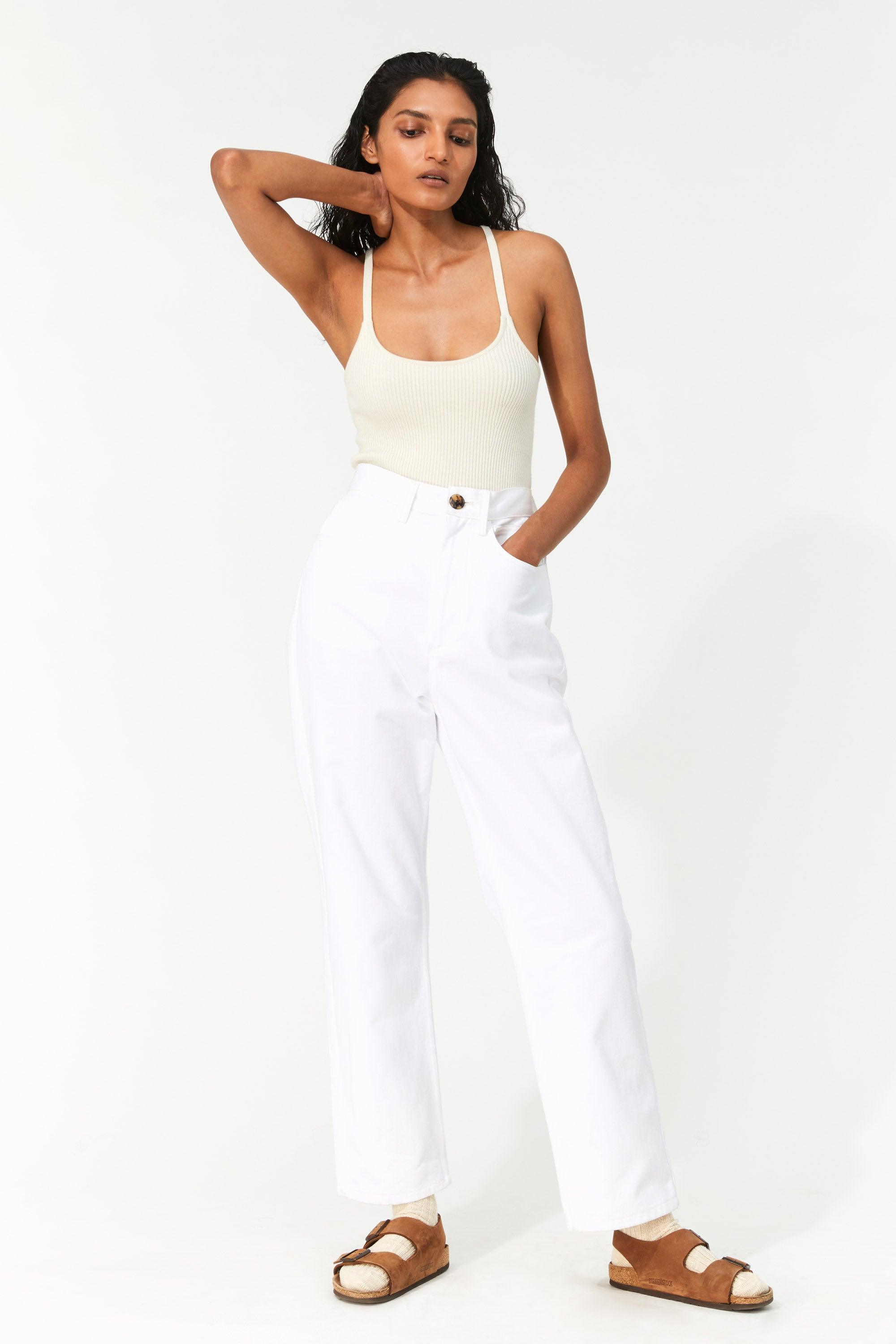 Mara Hoffman White Fontana Pant in organic cotton denim (front)