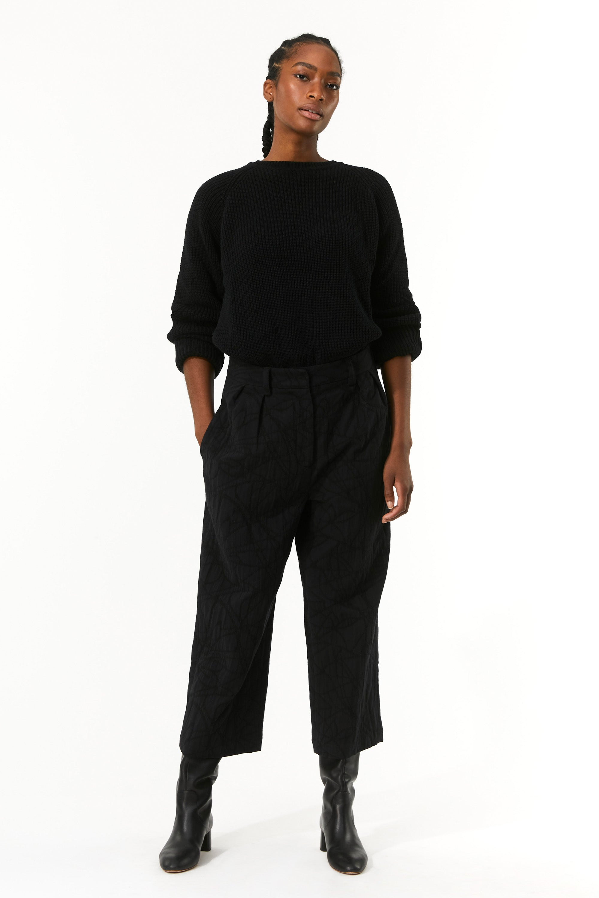 Mara Hoffman Black Sandra Pant in organic cotton and linen (front)