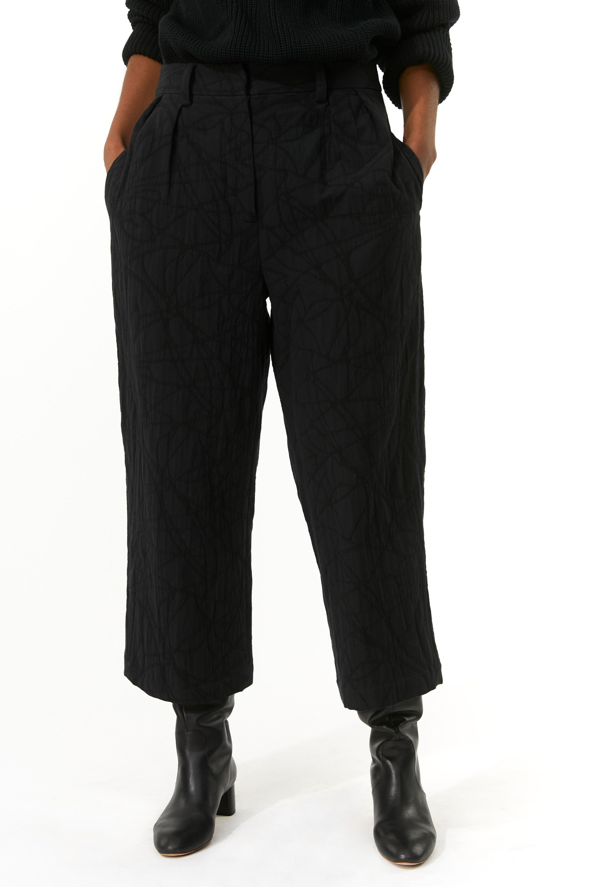 Mara Hoffman Black Sandra Pant in organic cotton and linen (front detail)