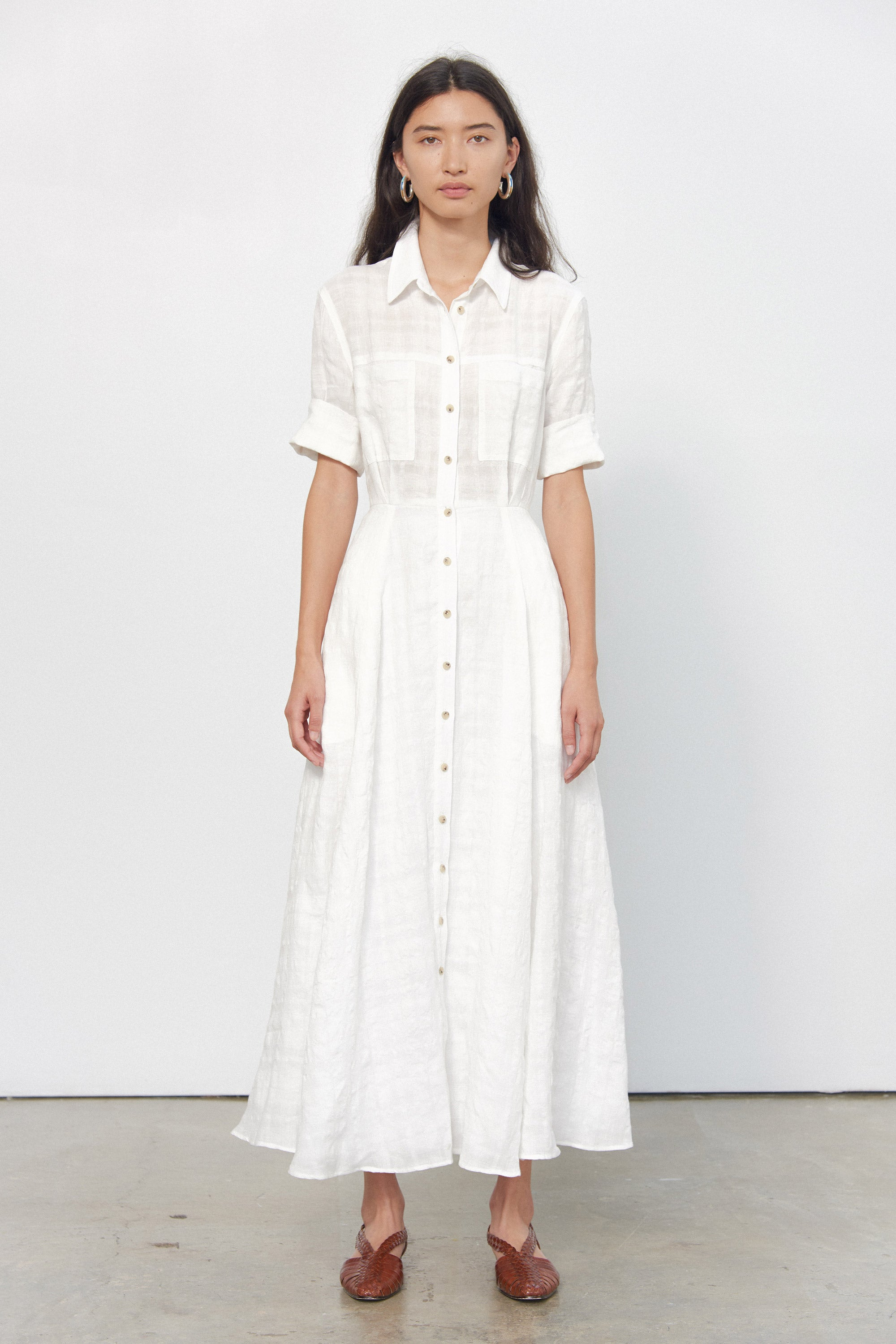 Mara Hoffman White Lorelei Dress in linen and cotton (front)