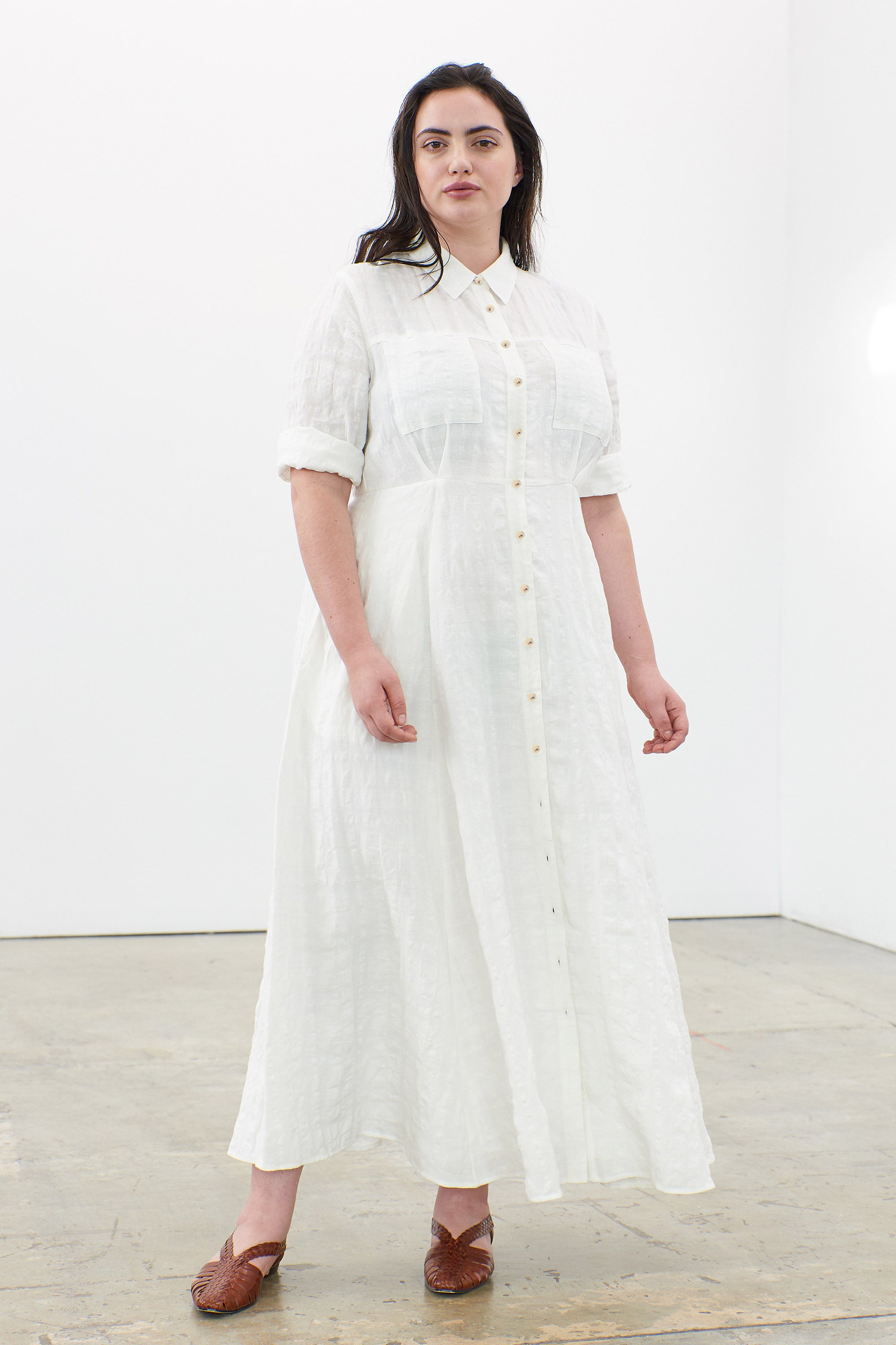 Mara Hoffman Extended White Lorelei Dress in linen and cotton (front)