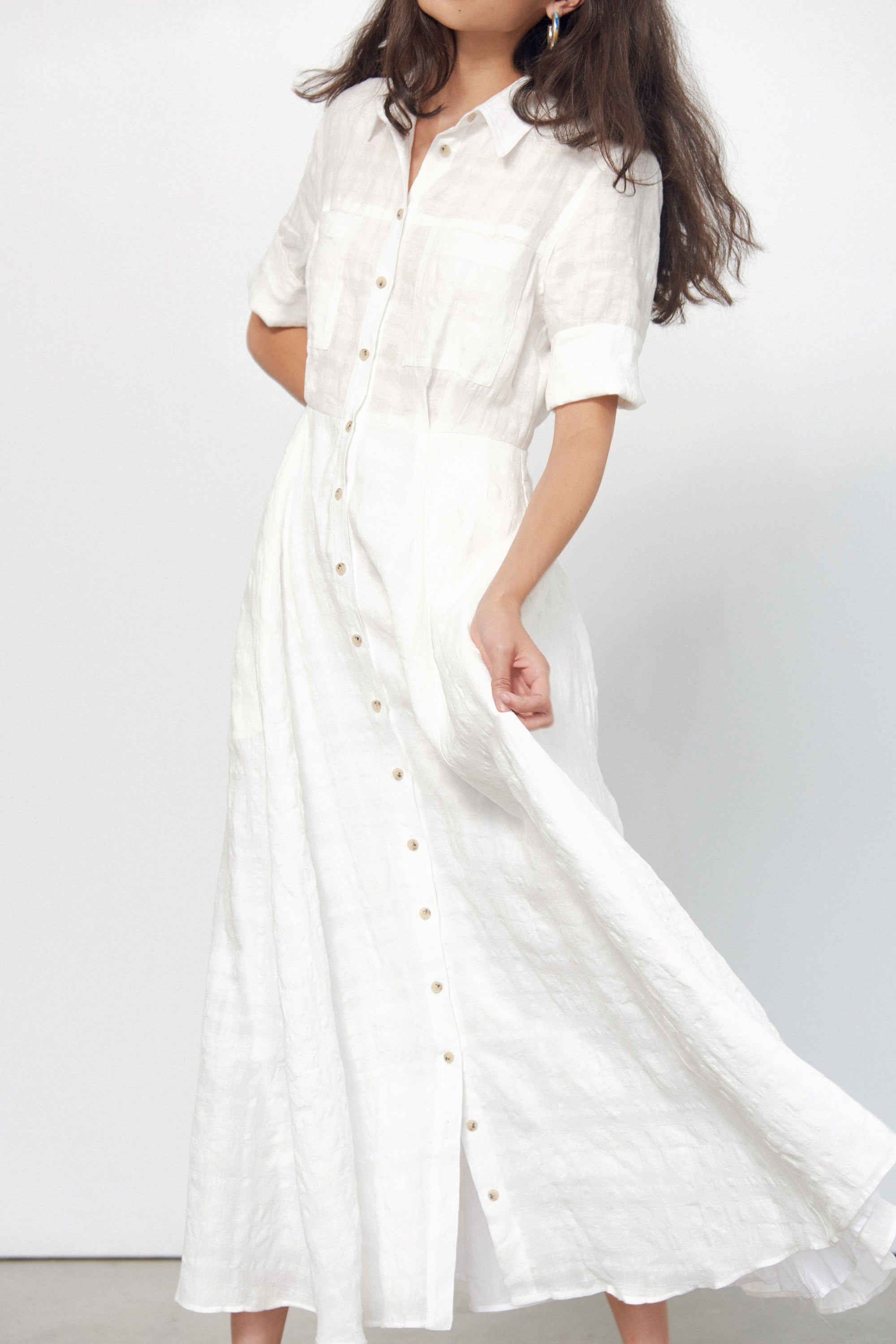 Mara Hoffman White Lorelei Dress in linen and cotton (movement)