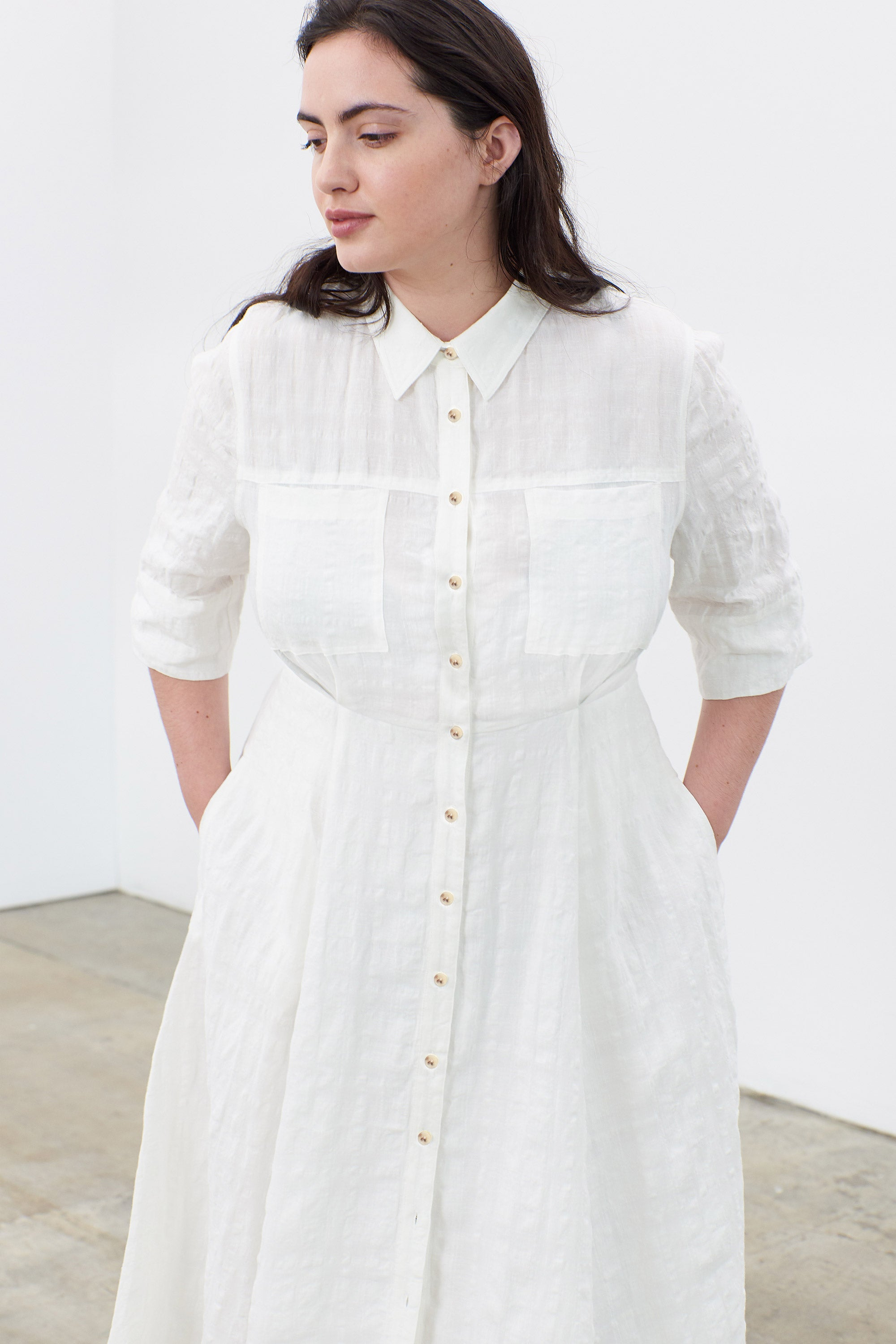 Mara Hoffman Extended White Lorelei Dress in linen and cotton (button detail)