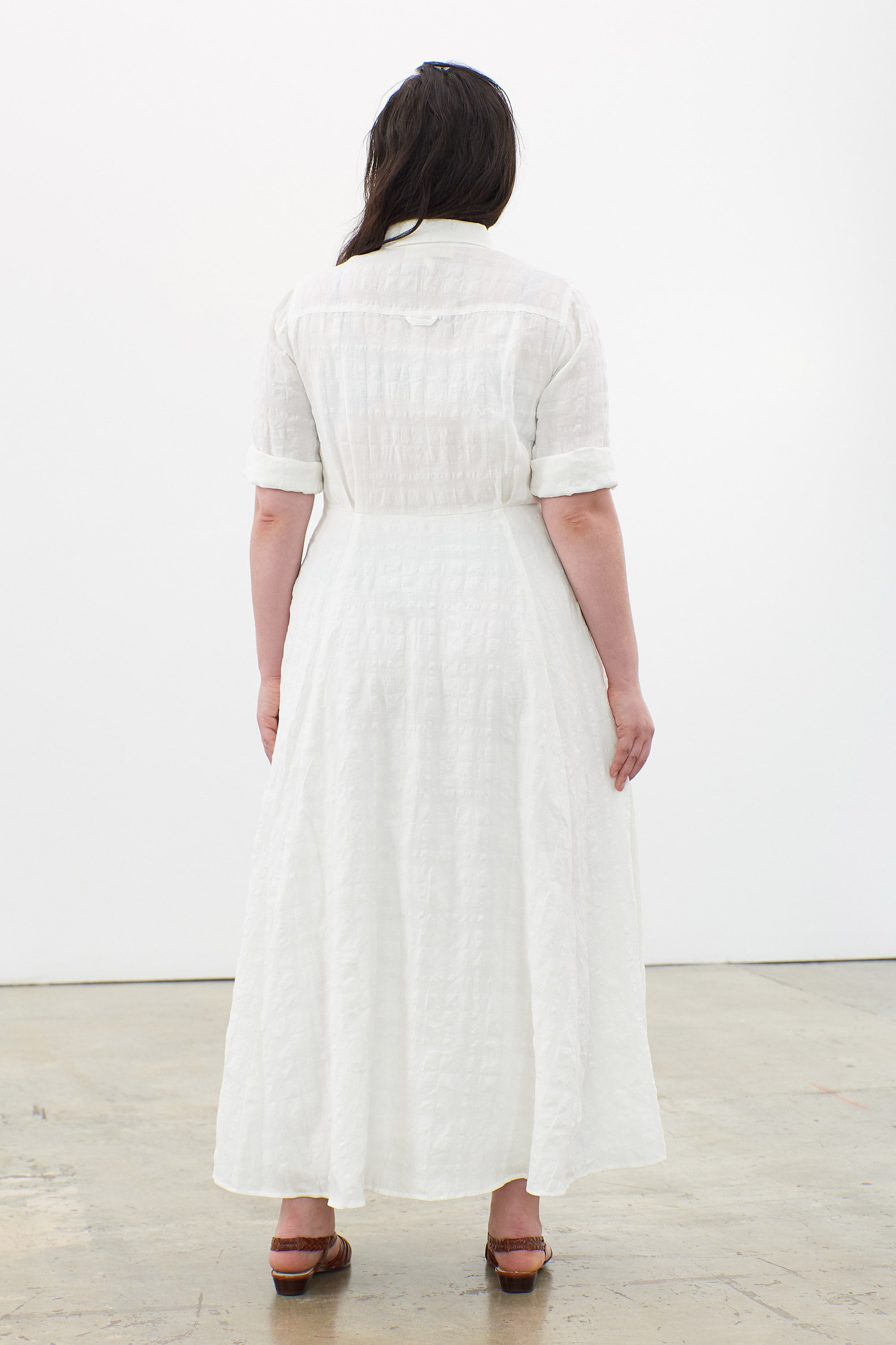 Mara Hoffman Extended White Lorelei Dress in linen and cotton (back)