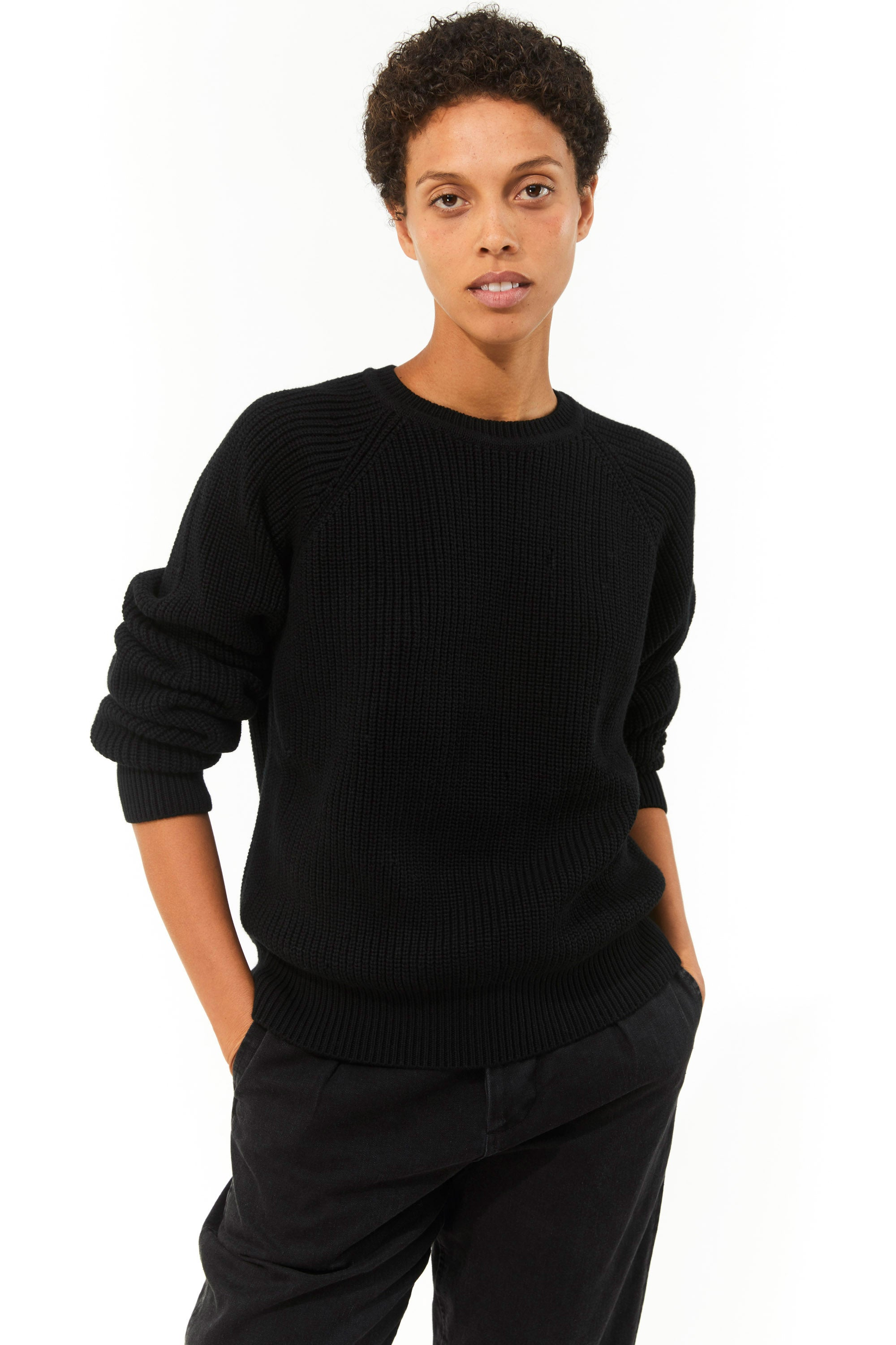 Mara Hoffman Black Avery Sweater in organic cotton (front)