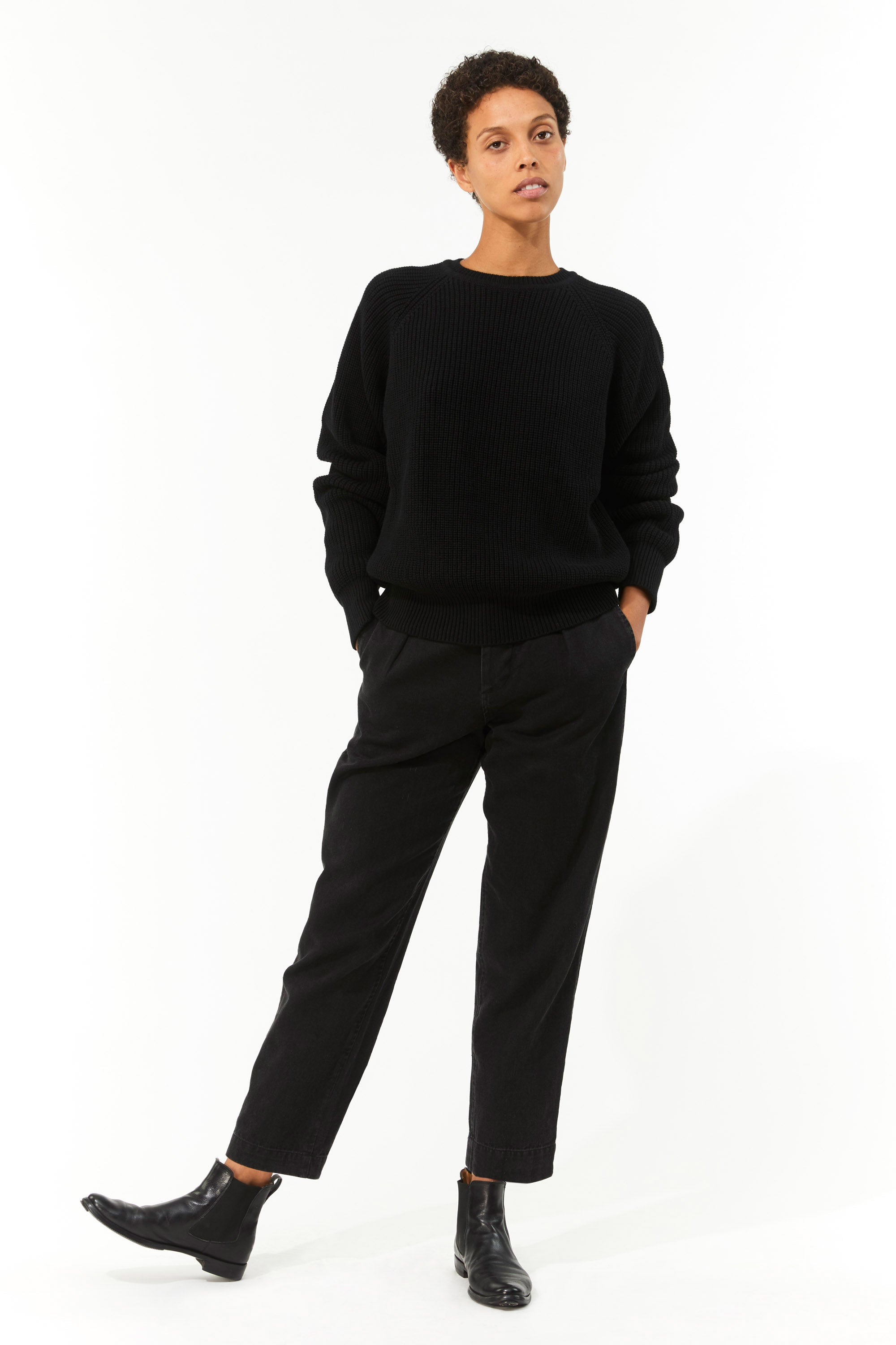 Mara Hoffman Black Avery Sweater in organic cotton (full body)