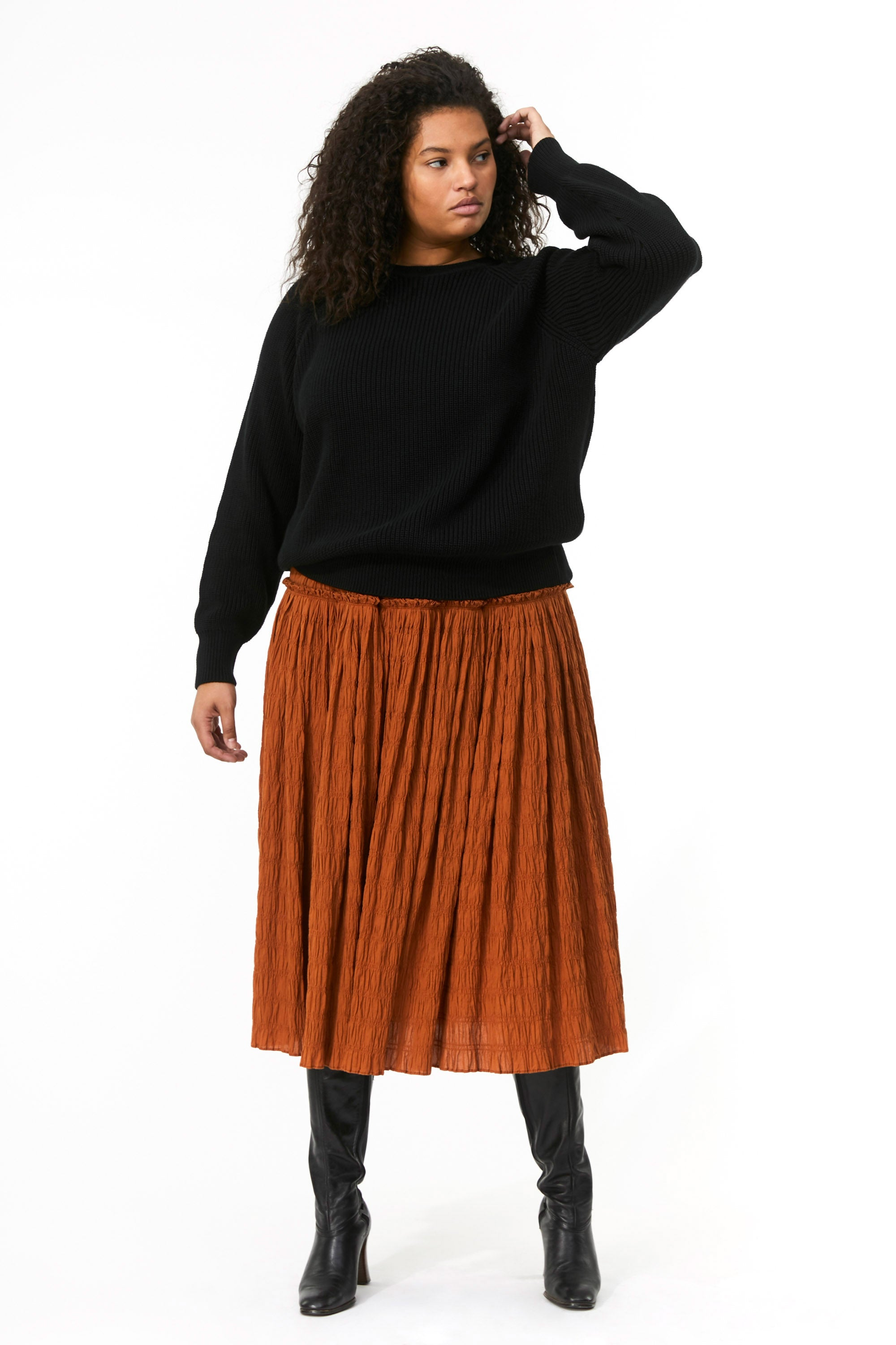 Mara Hoffman Extended Black Avery Sweater in organic cotton (front)