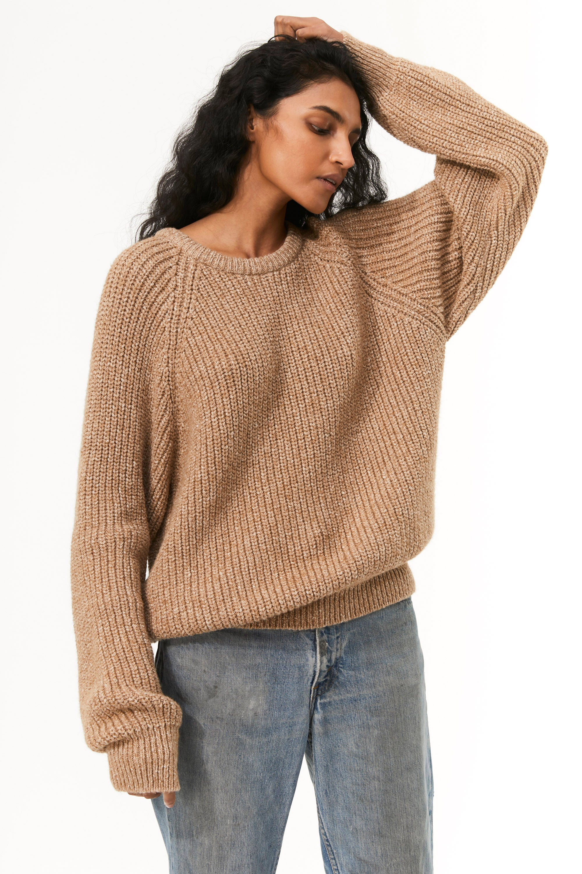 Mara Hoffman Camel Avery Sweater in organic cotton (front detail)