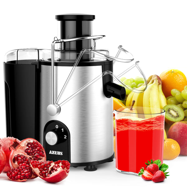 AZEUS Centrifugal Juicer - 2 Speed Settings - 163 Chopping Blades (Germany Made Titanium) with 2-Layer Centrifugal Bowl
