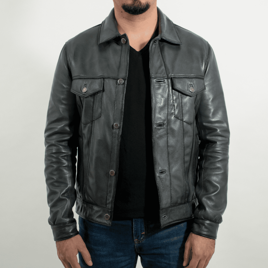 Trucker Fossil Blue Leather Jacket Slim Fit