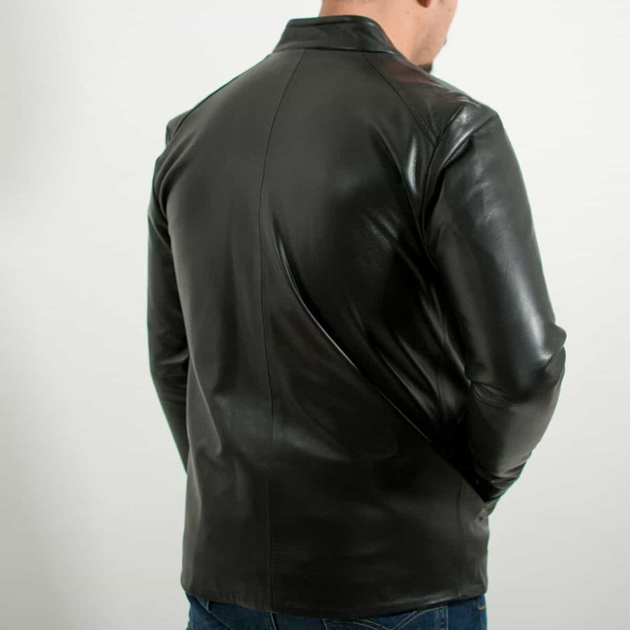 Classic Black Leather Jacket Slim Fit