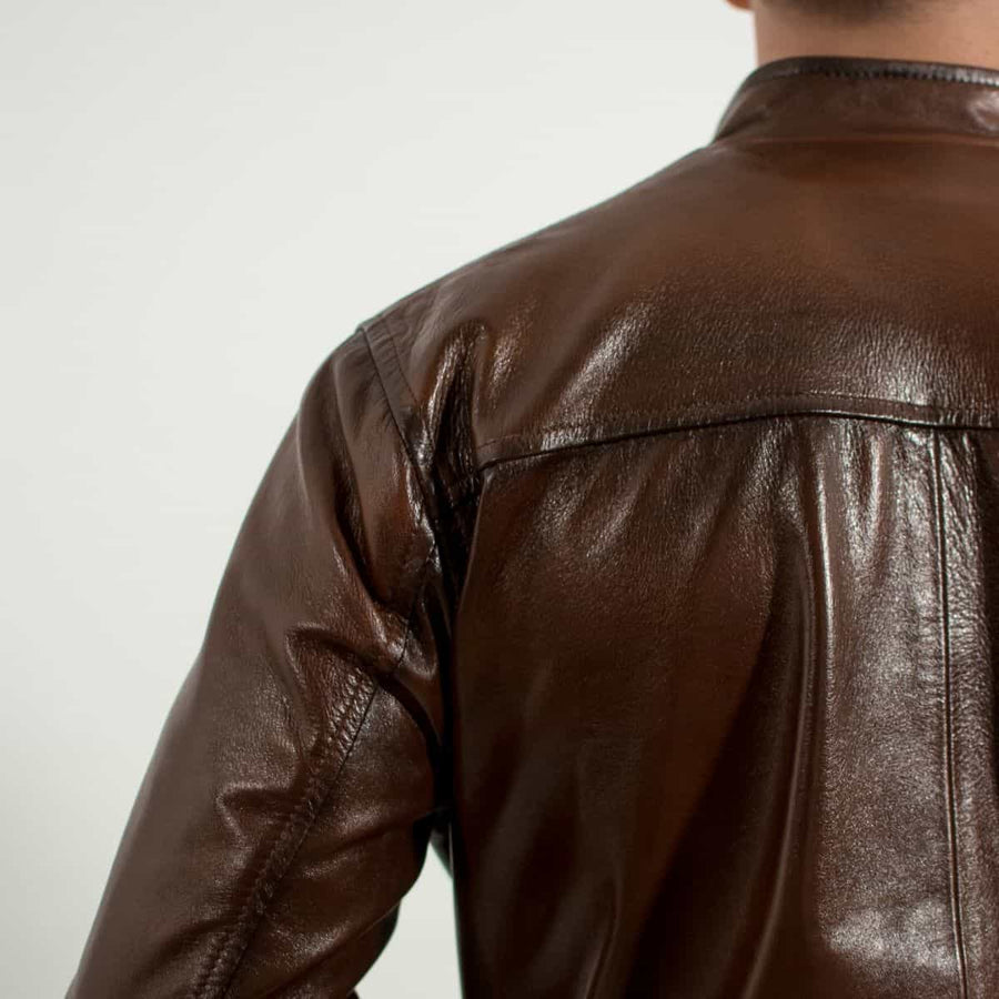 Racer Maroon Leather Jacket Regular Fit