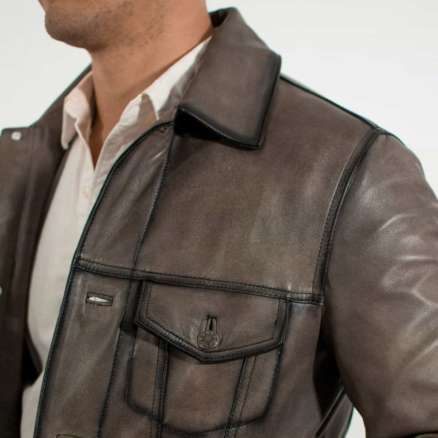 Trucker Stone Leather Jacket Slim Fit