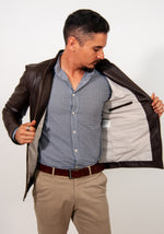OUTLET First Collection Classic jacket slim fit in brown leather