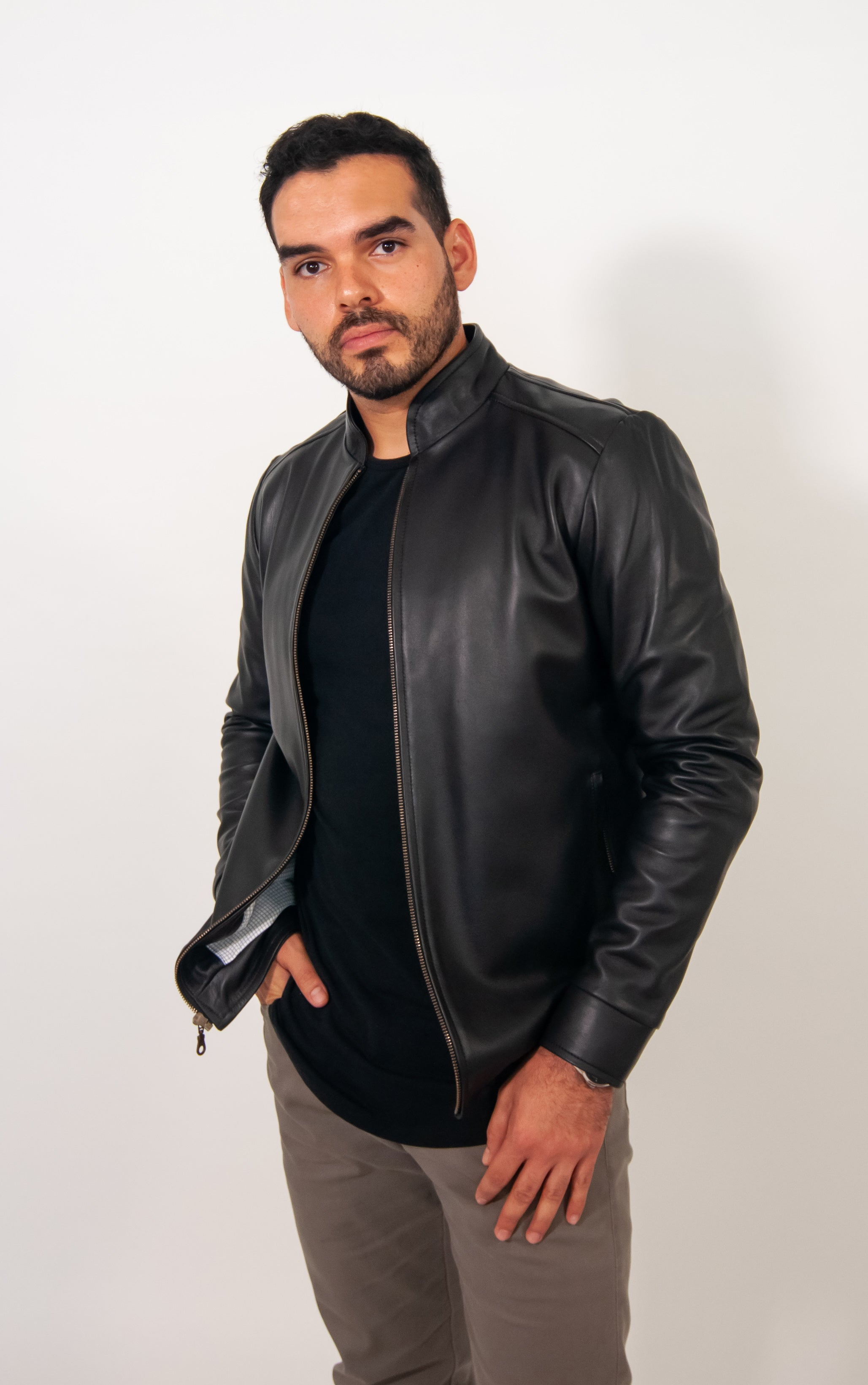 OUTLET First Collection Classic jacket slim fit in black leather