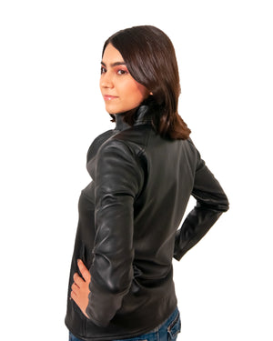 Bomber jacket in black leather