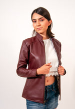 Bomber jacket in burgundy leather