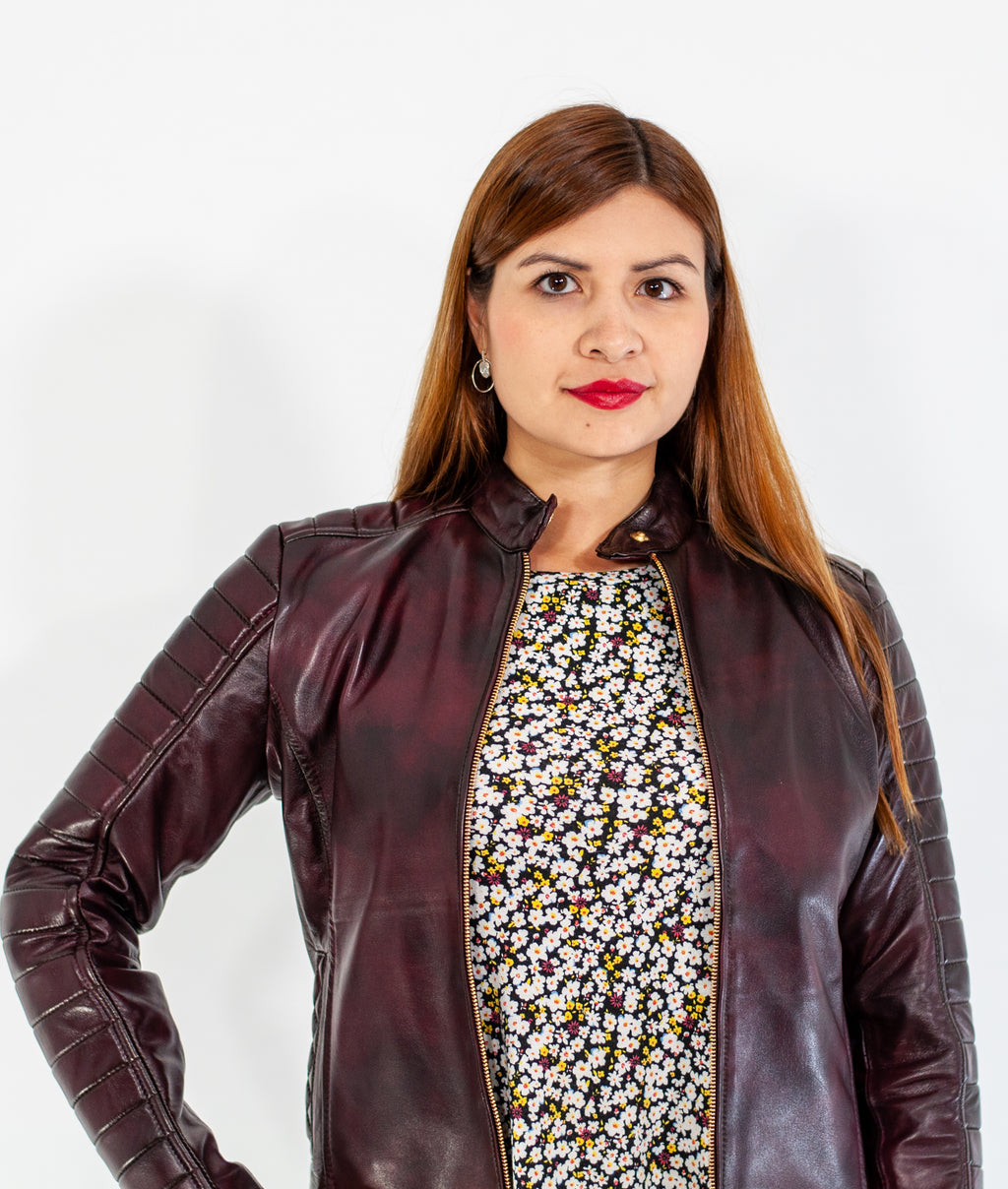 Estella Burgundy Leather Jacket