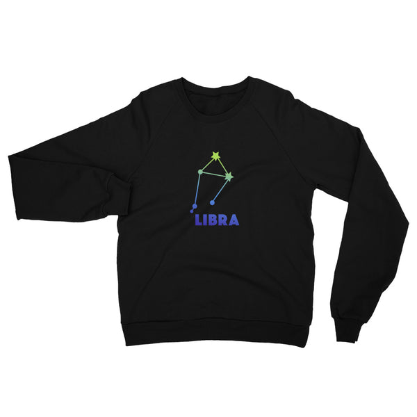 Blue Ombre Unisex California Fleece Raglan Sweatshirt - Libra