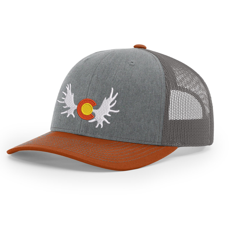 Colorado Moose Orange and Heather Grey/Charcoal Trucker Hat - Grey Mesh