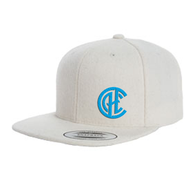 CHC Logo Wool Flat Bill Snap Back Hat - Natural