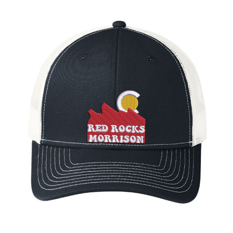 Red Rocks of Colorado Trucker Hat - Navy White