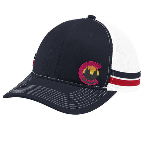 Colorado Tree Trucker Hat - Flame Red White