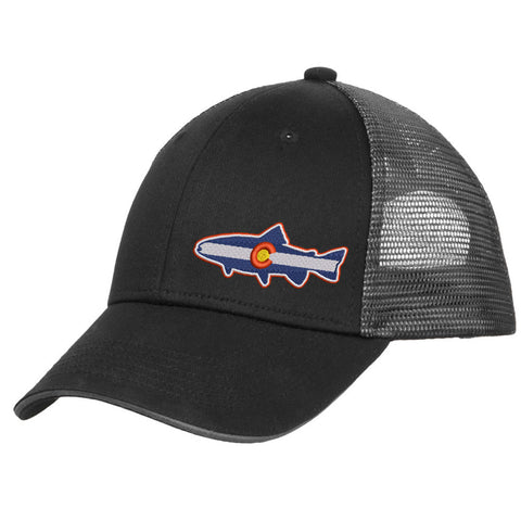 Colorado Trout Trucker Hat - Black & Silver - Side Embroidery
