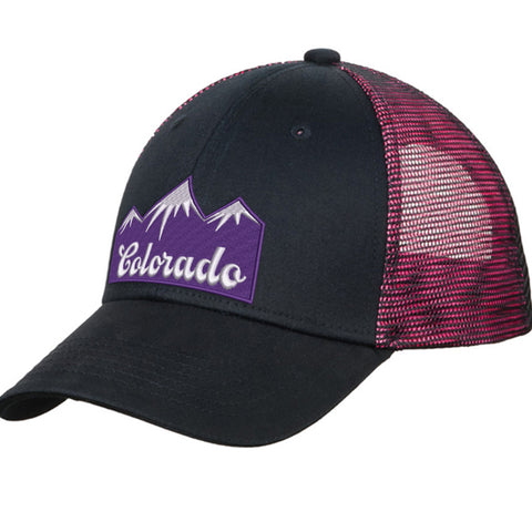 Colorado Mountains Trucker Hat - Black & Shock Pink