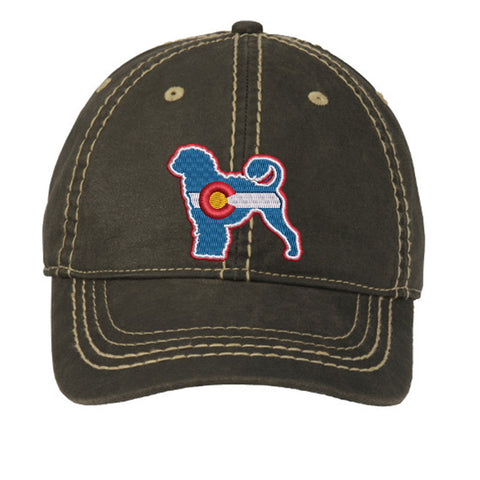Colorado Portuguese Water Dog Distressed Cap - Black