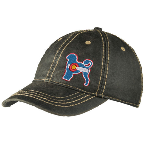 Colorado Portuguese Water Dog Distressed Cap - Black - Side Embroidery