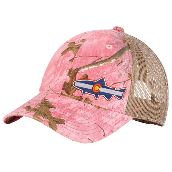 Colorado Trout Trucker Hat - Pink Realtree Camouflage - Side Embroidery