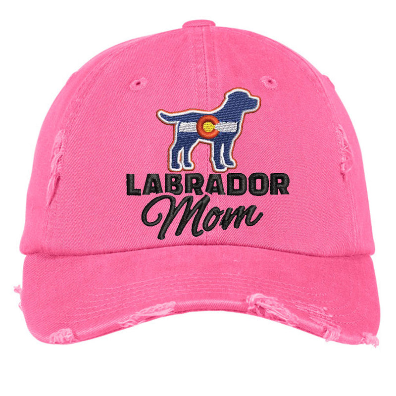 Colorado Labrador Mom Distressed Cap - Pink