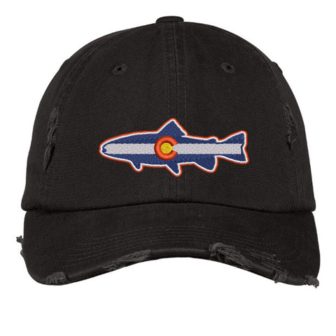 Colorado Trout Distressed Cap - Black