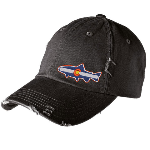 Colorado Trout Distressed Cap - Black - Side Embroidery